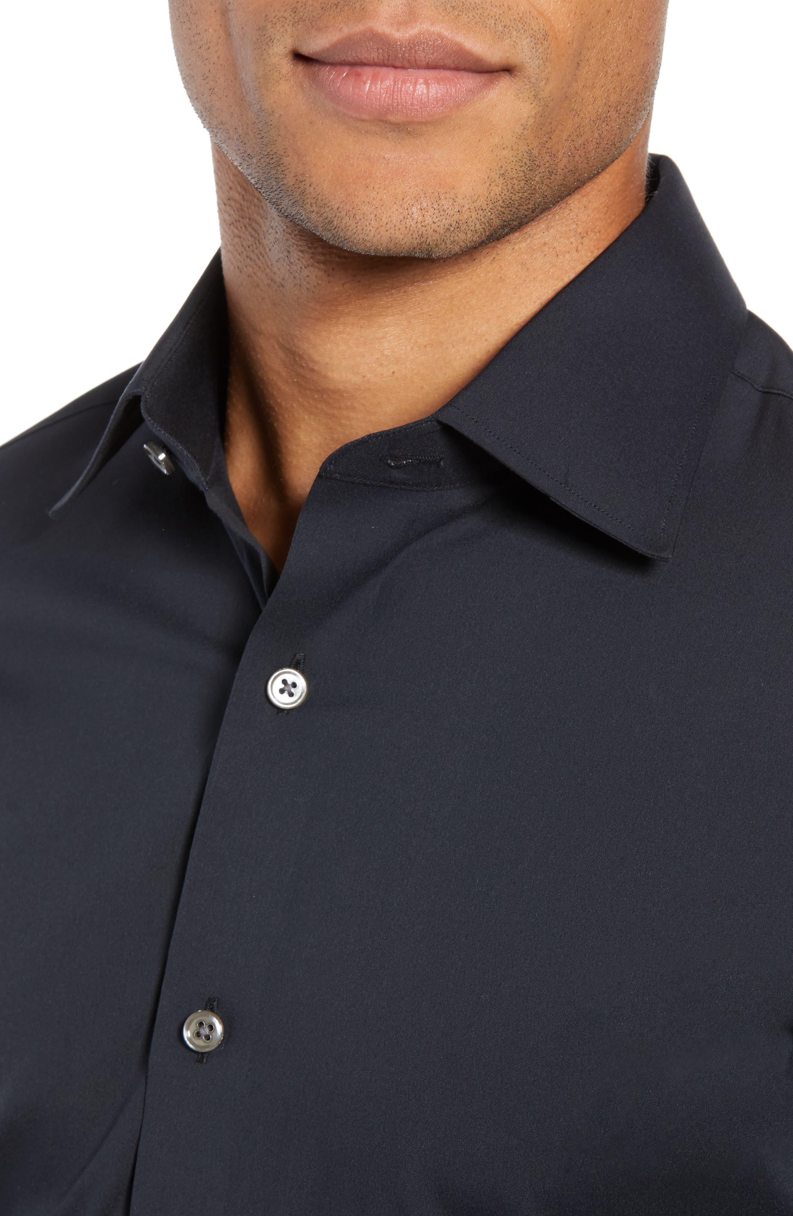 Jetsetter Slim Fit Solid Dress Shirt,                             Alternate thumbnail 2, color,                             BLACK