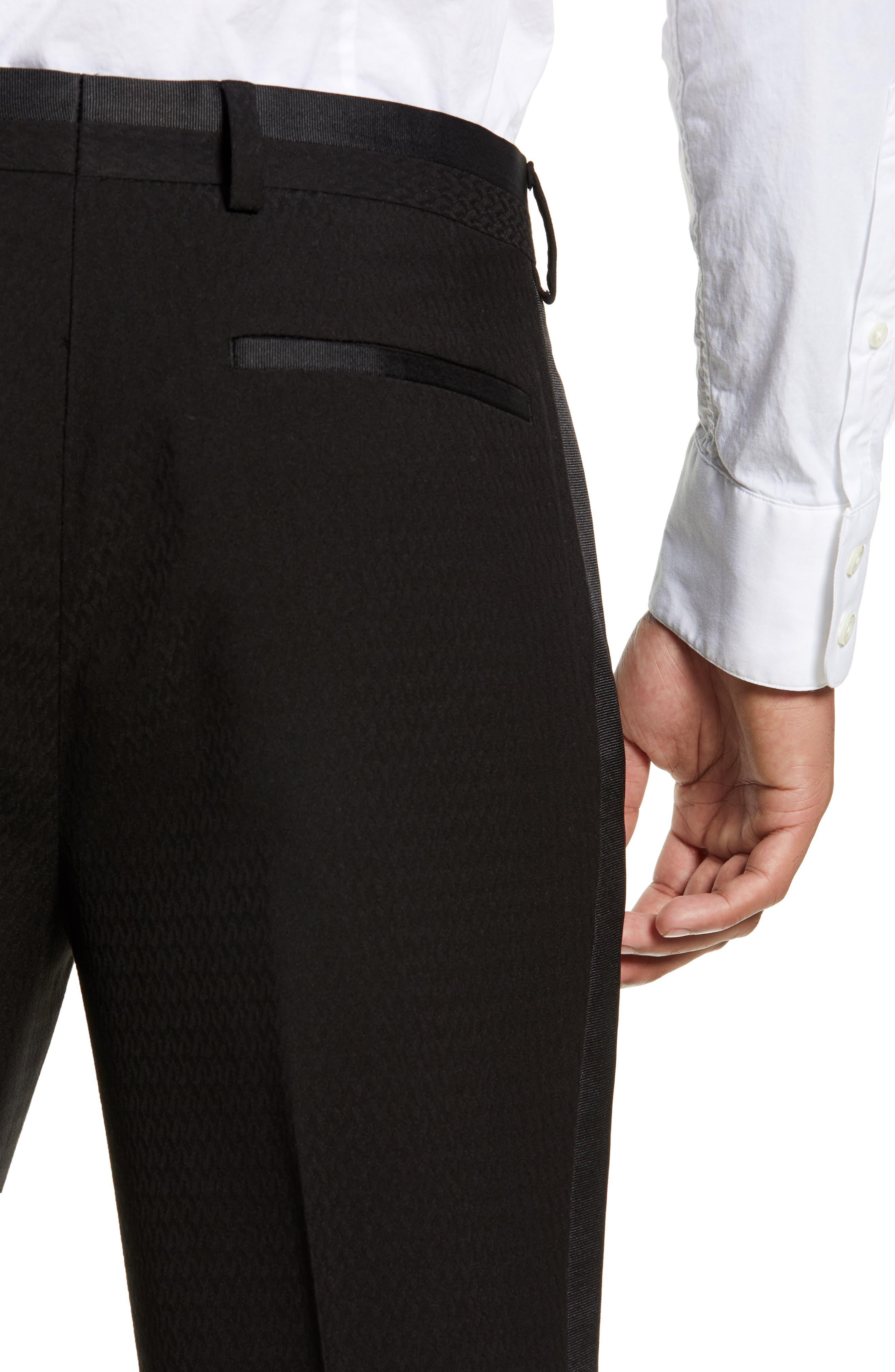 Kingley Slim Fit Tuxedo Pants,                             Alternate thumbnail 4, color,                             BLACK