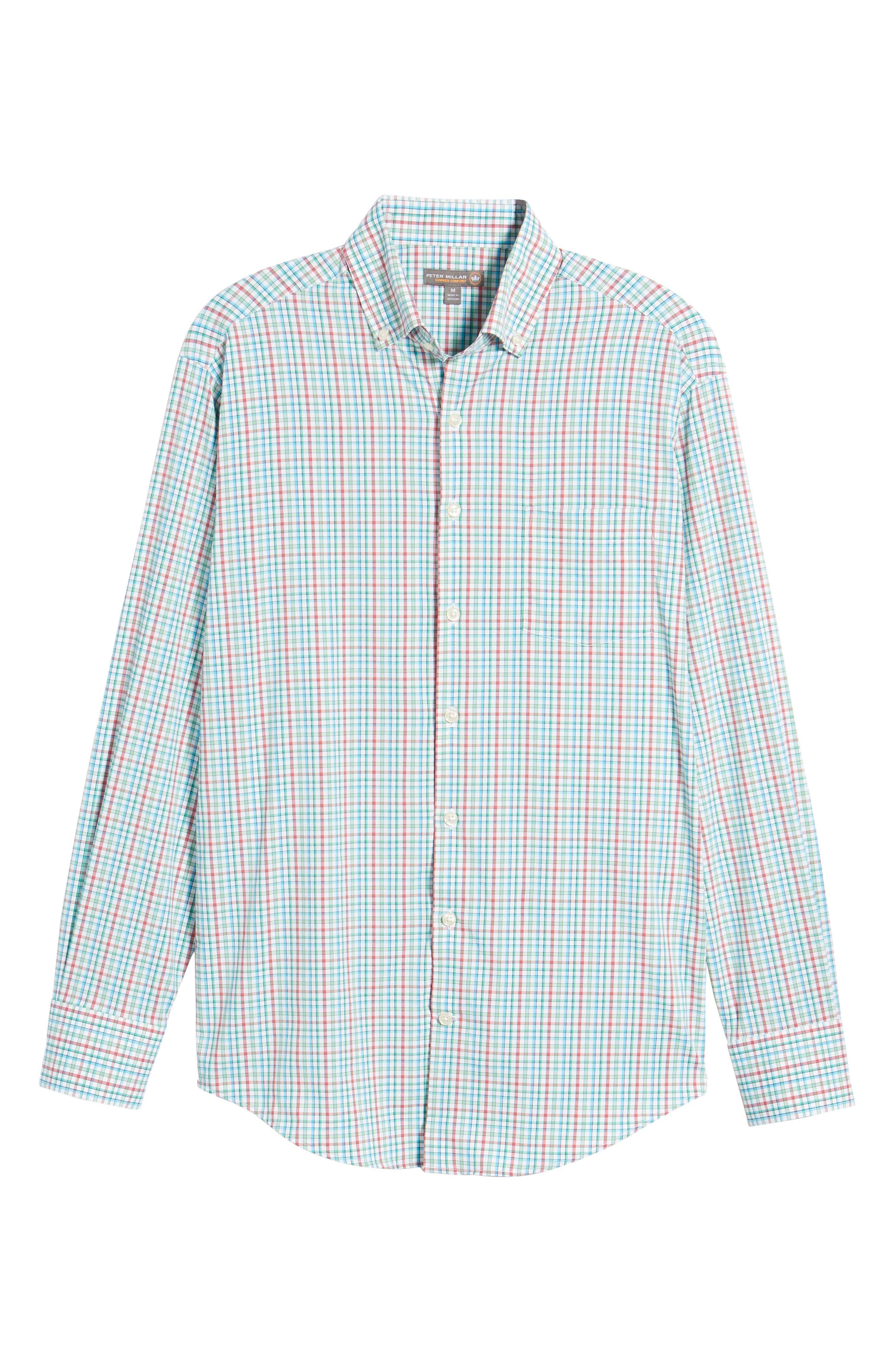 Gunn Regular Fit Tattersall Sport Shirt,                             Alternate thumbnail 6, color,                             100