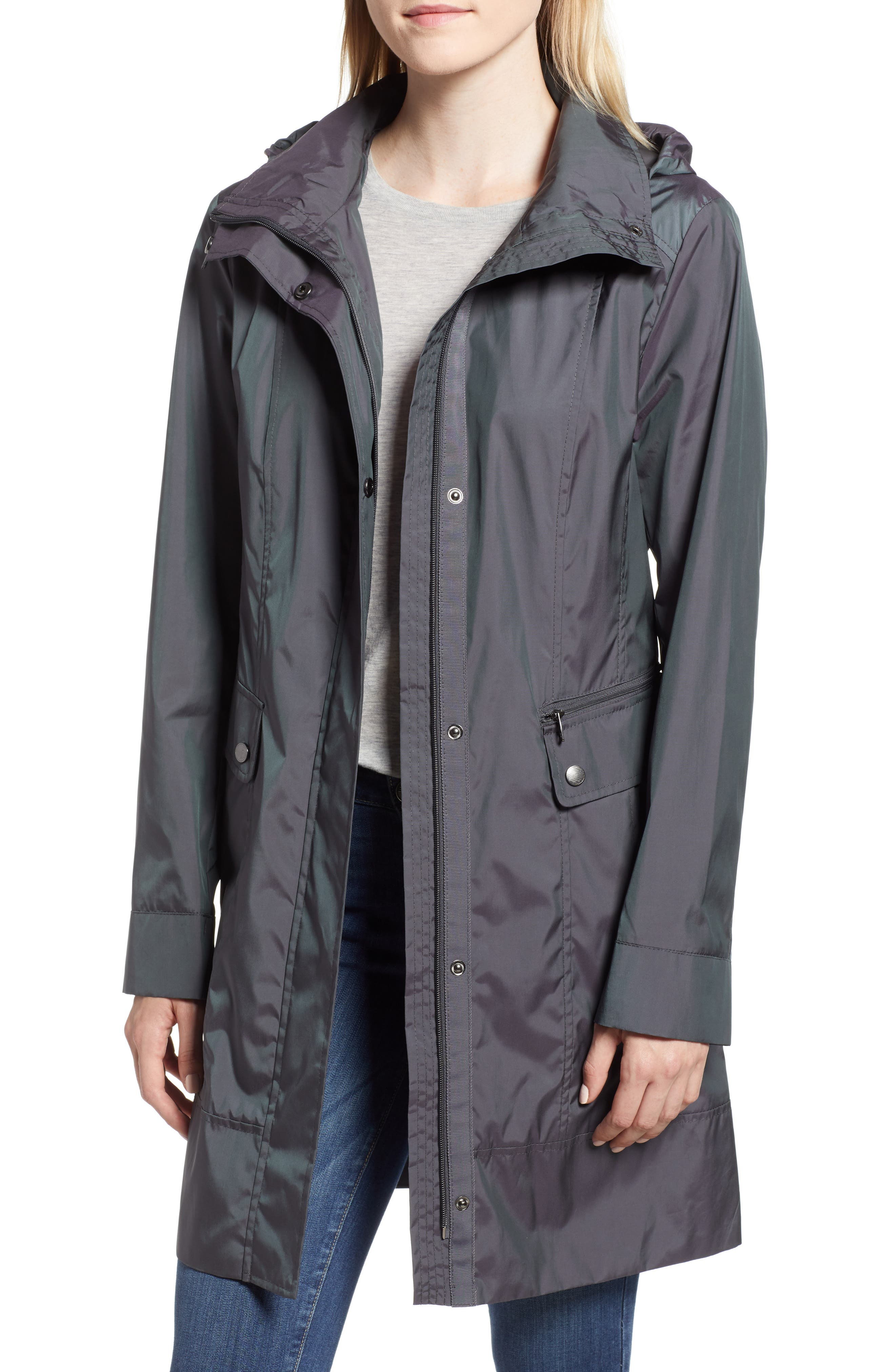 Back Bow Packable Hooded Raincoat,                         Main,                         color, GUNMETAL