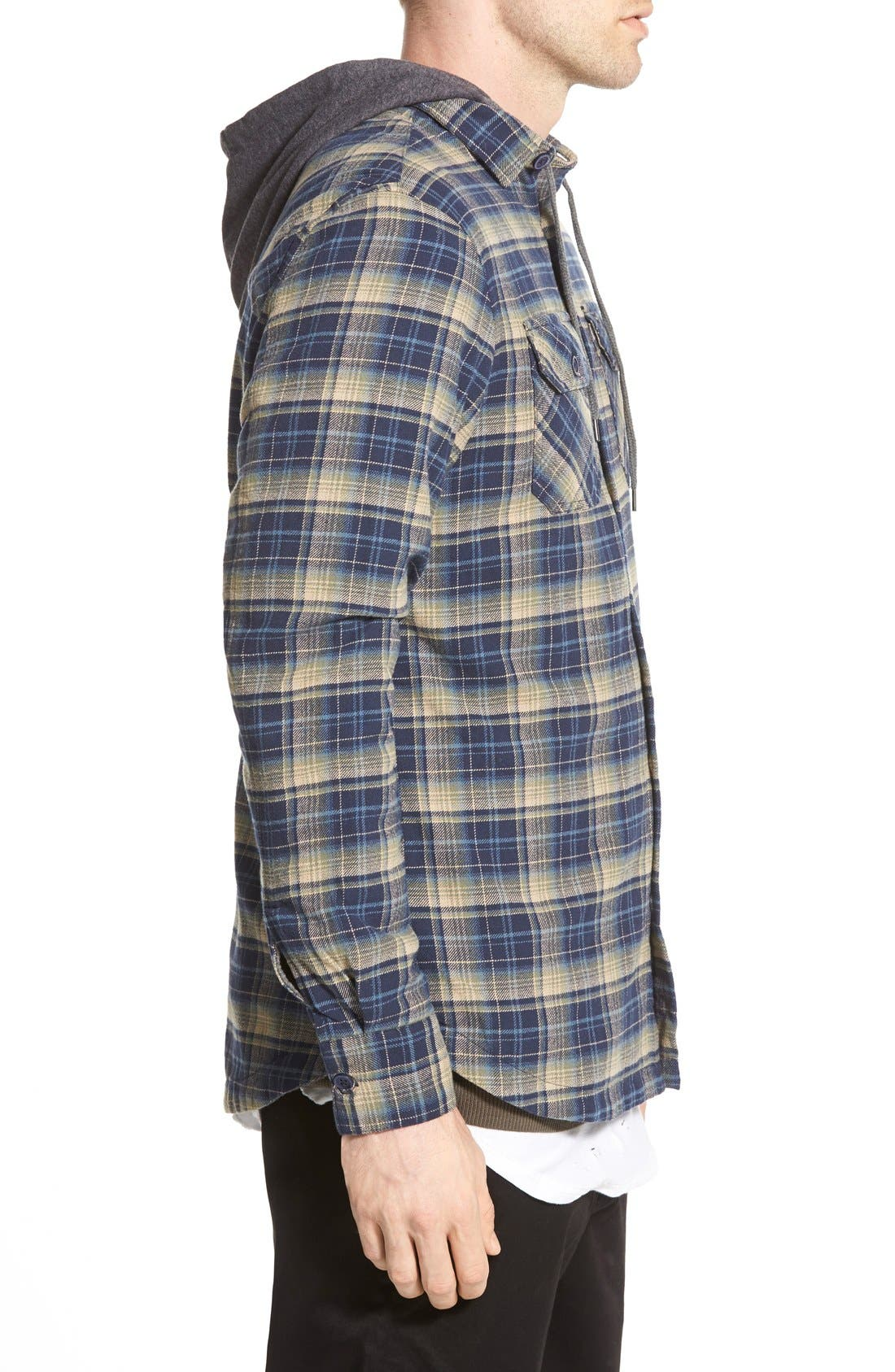 'Alford' Trim Fit Long Sleeve Plaid Hooded Shirt,                             Alternate thumbnail 8, color,
