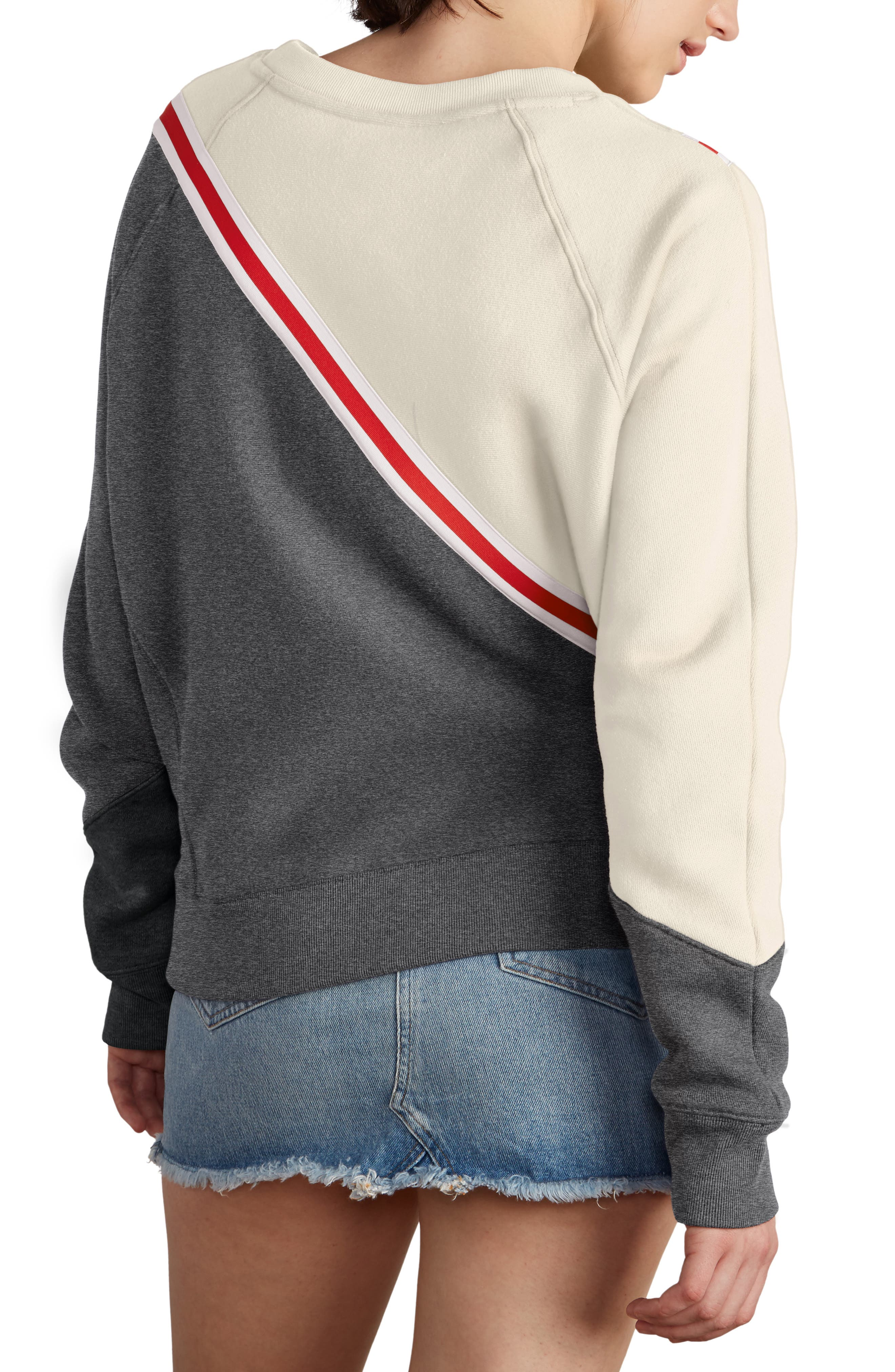 Colorblock Reverse Fleece Sweatshirt,                             Alternate thumbnail 2, color,                             QUARTZ CRM/GRANITE/BLACK