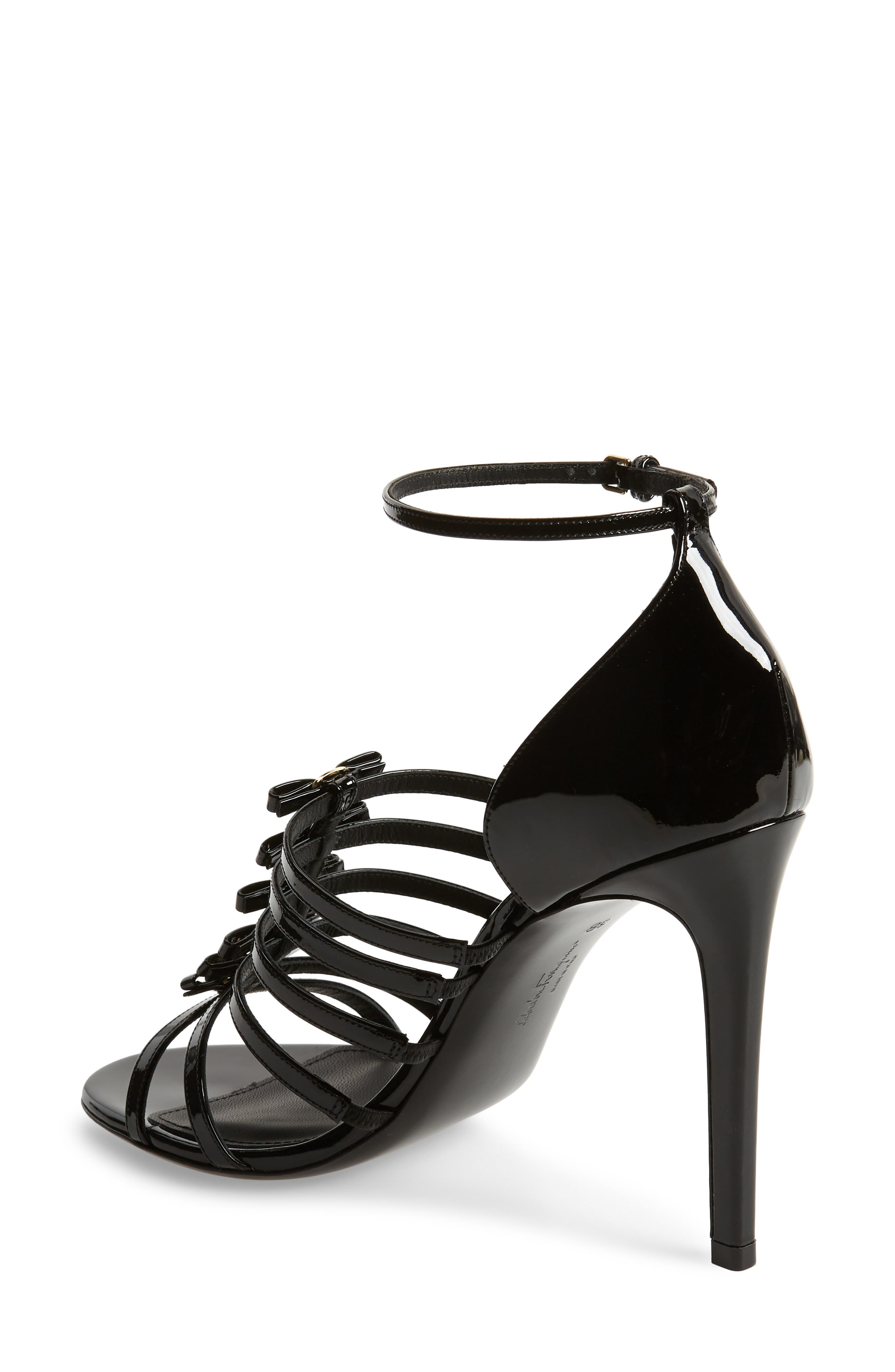SALVATORE FERRAGAMO,                             Jesolo Cage Sandal,                             Alternate thumbnail 2, color,                             BLACK