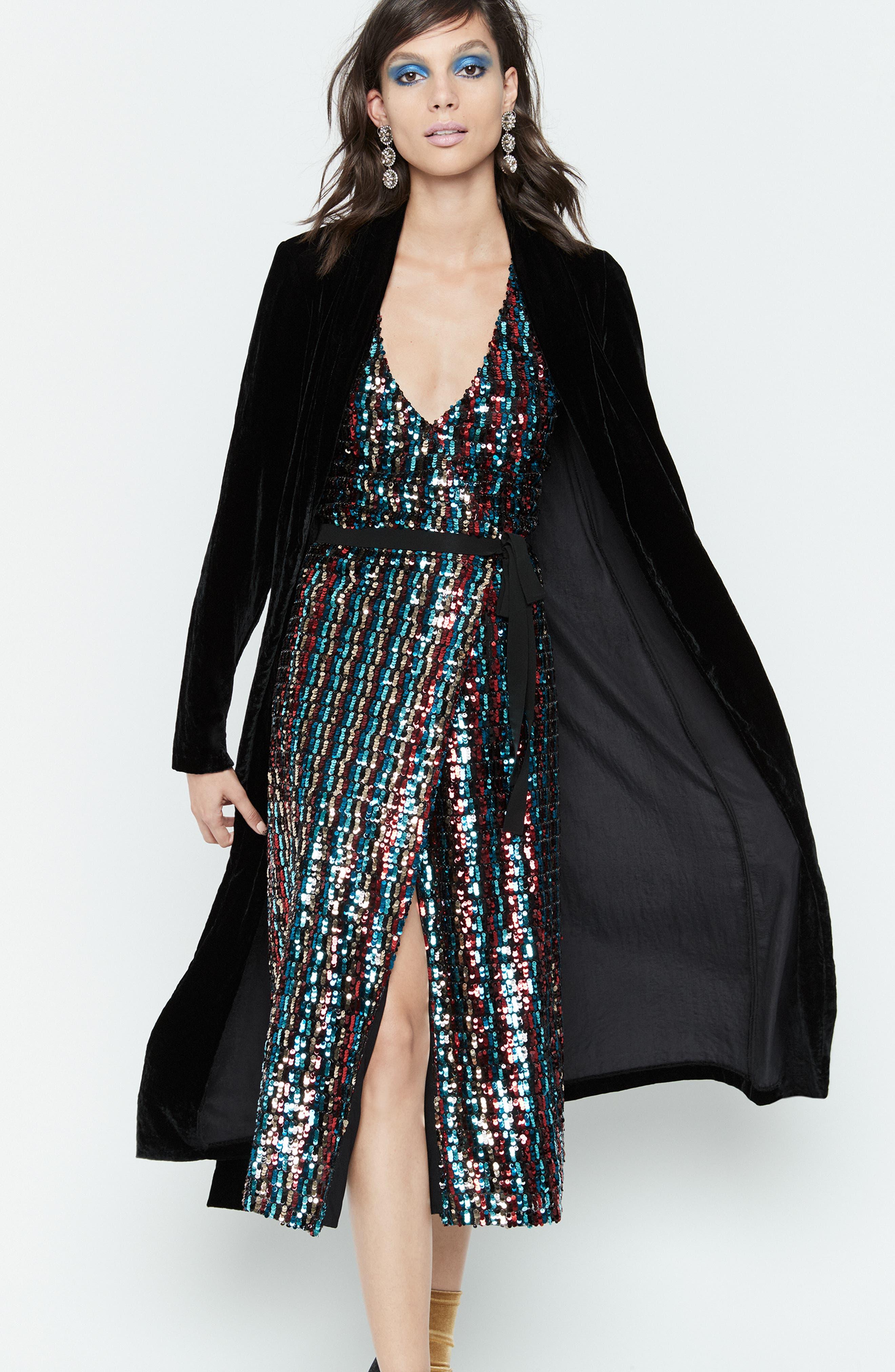 Multicolor Sequin Wrap Dress,                             Alternate thumbnail 9, color,                             MERLOT GOLD