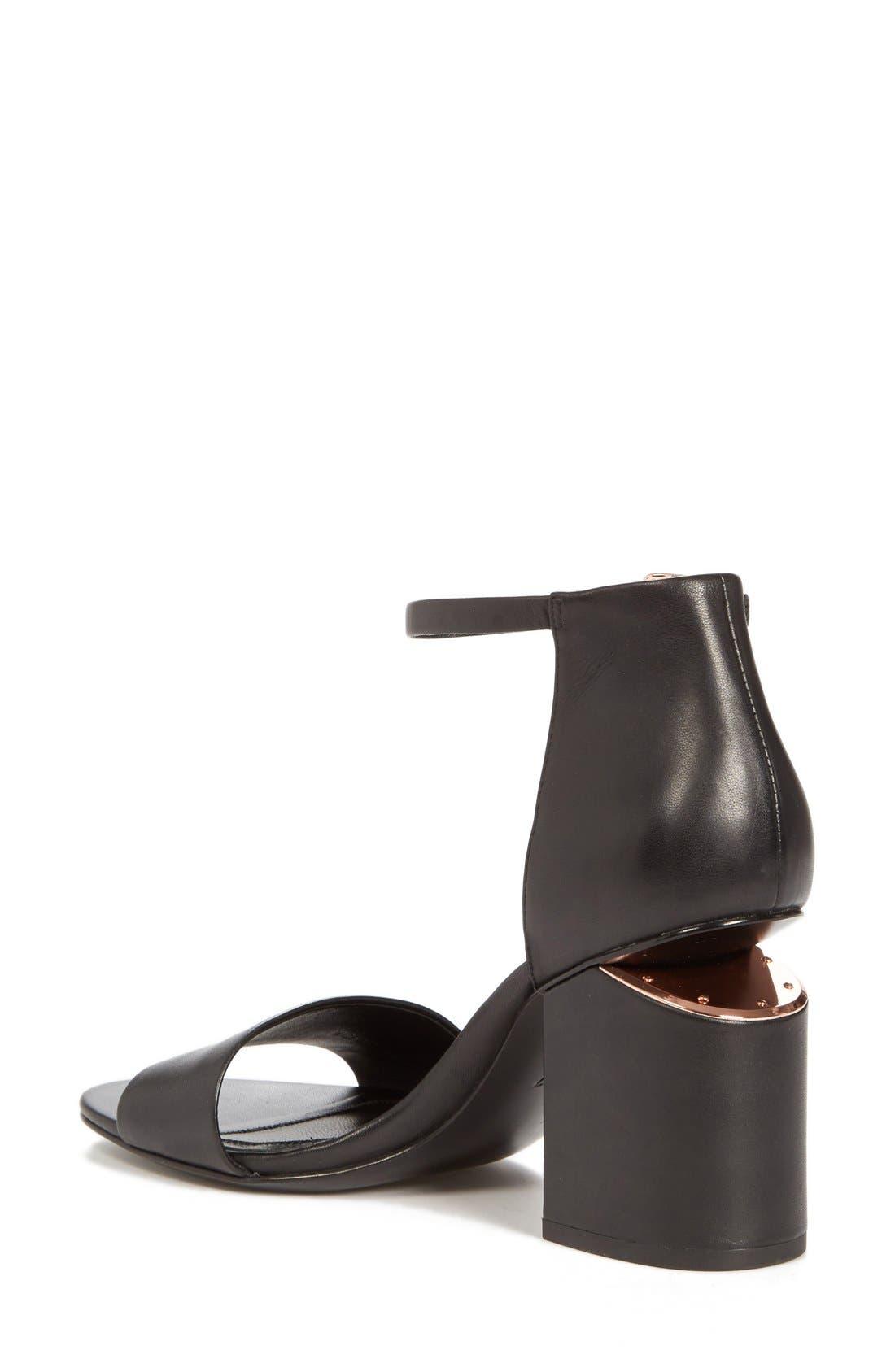 'Abby' Ankle Strap Sandal,                             Alternate thumbnail 3, color,                             BLACK/ ROSE GOLD