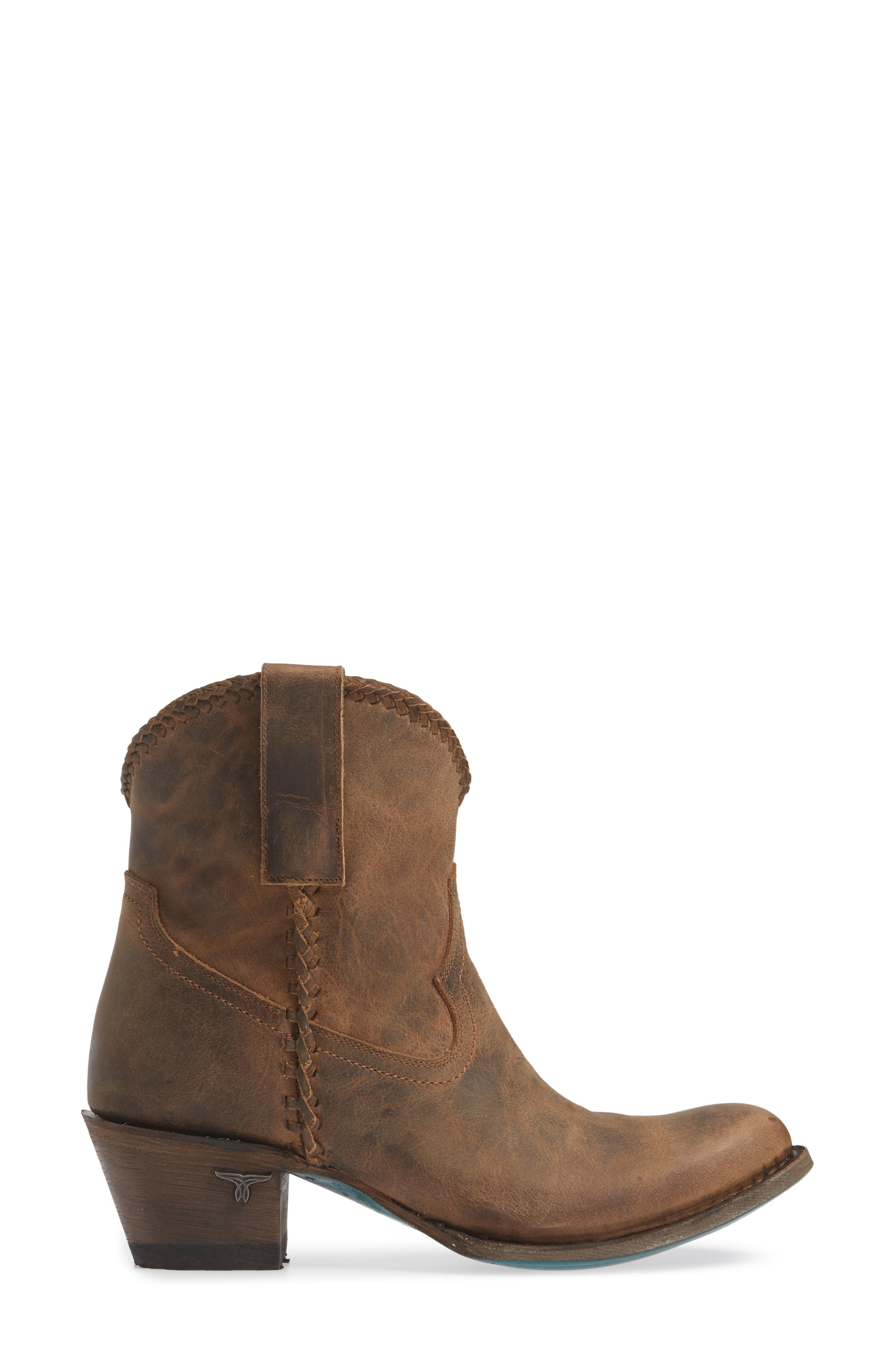 Plain Jane Western Boot,                             Alternate thumbnail 3, color,                             BROWN LEATHER
