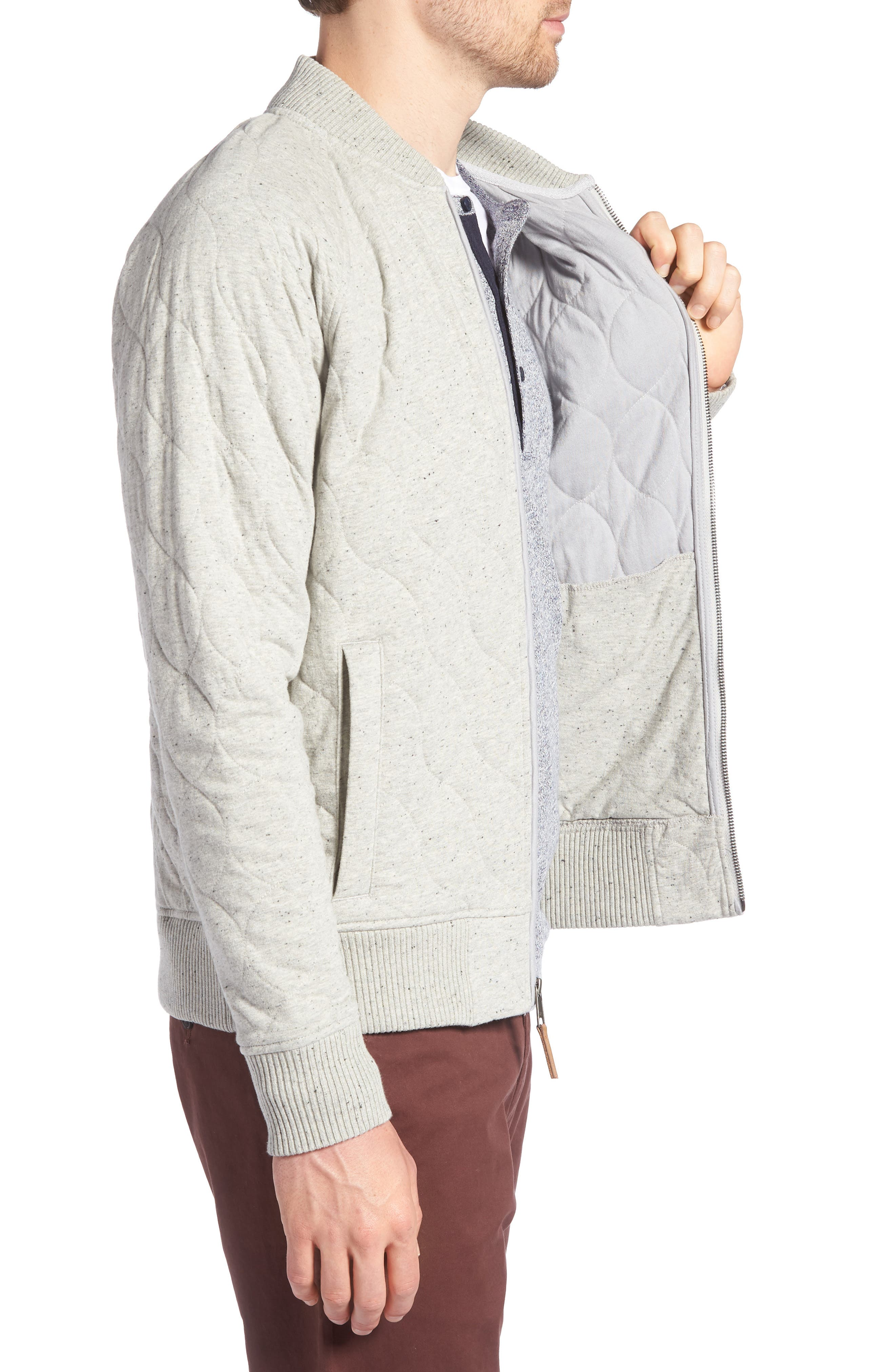Quilted Bomber Jacket,                             Alternate thumbnail 3, color,                             GREY WEATHER NEP