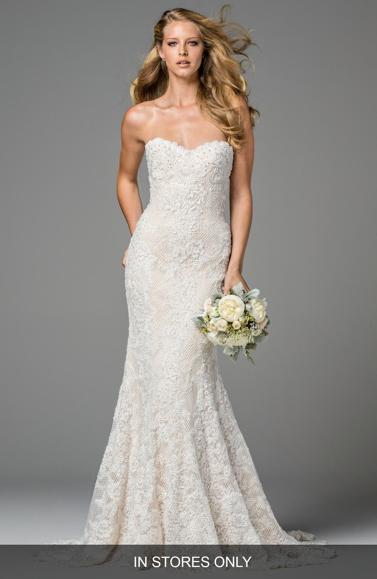 Copeland Strapless Lace Gown,                             Main thumbnail 1, color,                             IVORY
