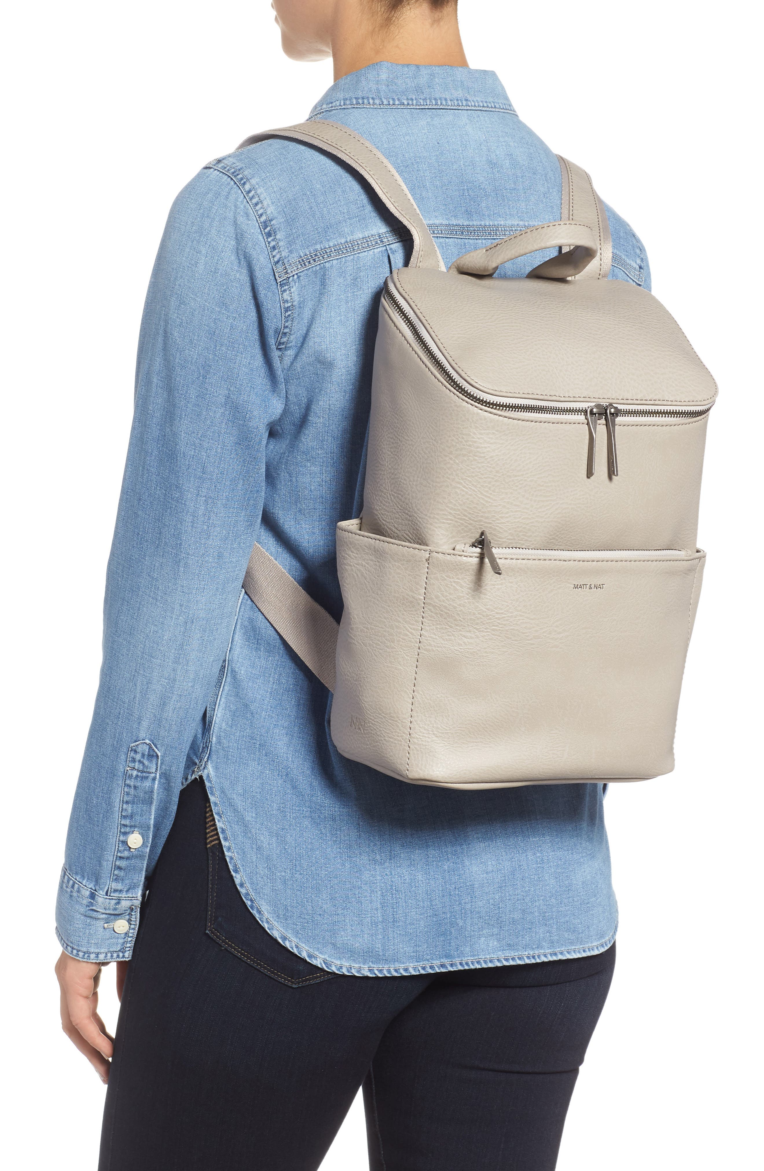 'Brave' Faux Leather Backpack,                             Main thumbnail 1, color,