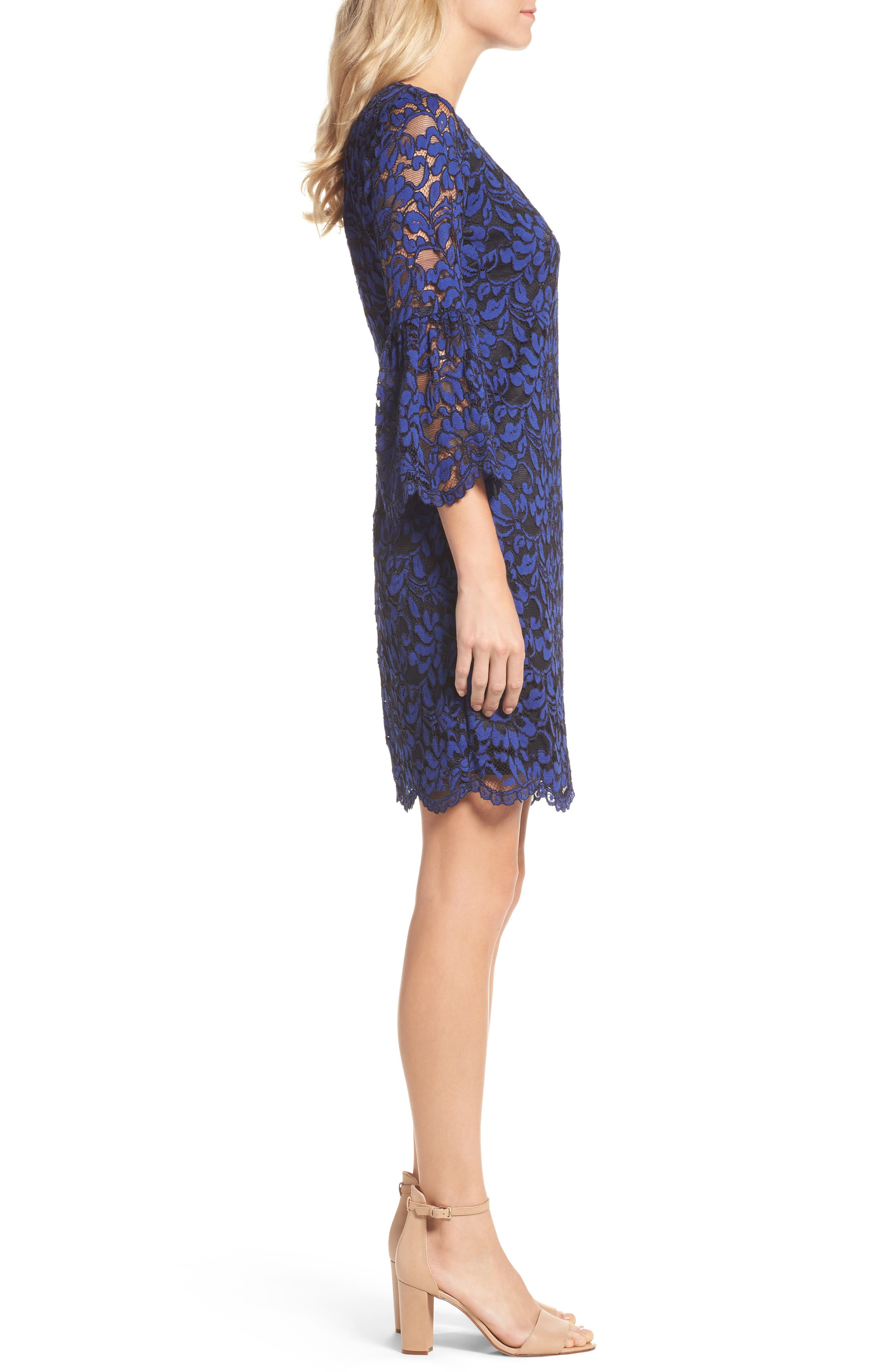 Bell Sleeve Lace Dress,                             Alternate thumbnail 3, color,                             492