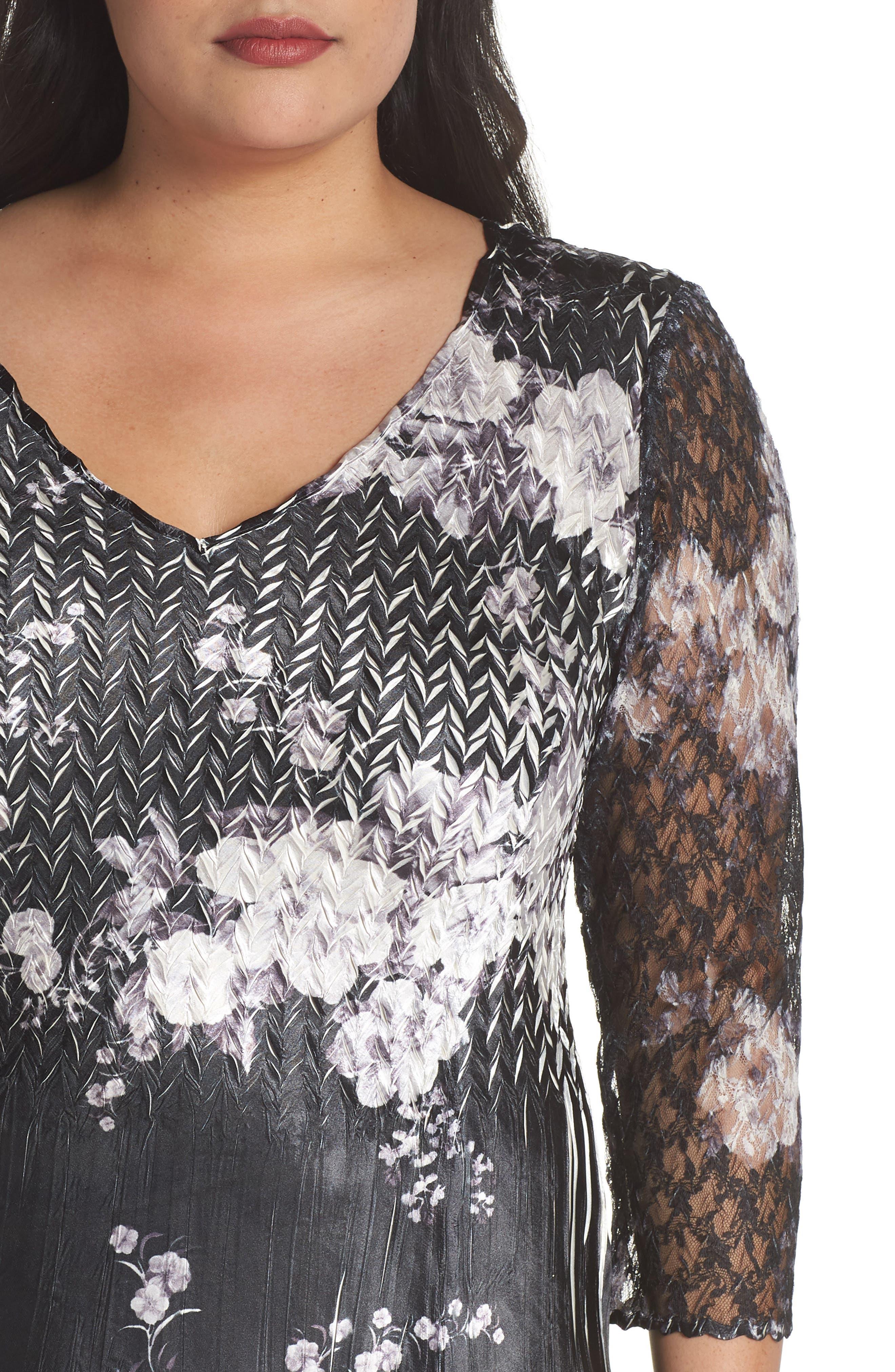 Lace & Charmeuse A-Line Dress,                             Alternate thumbnail 4, color,                             001
