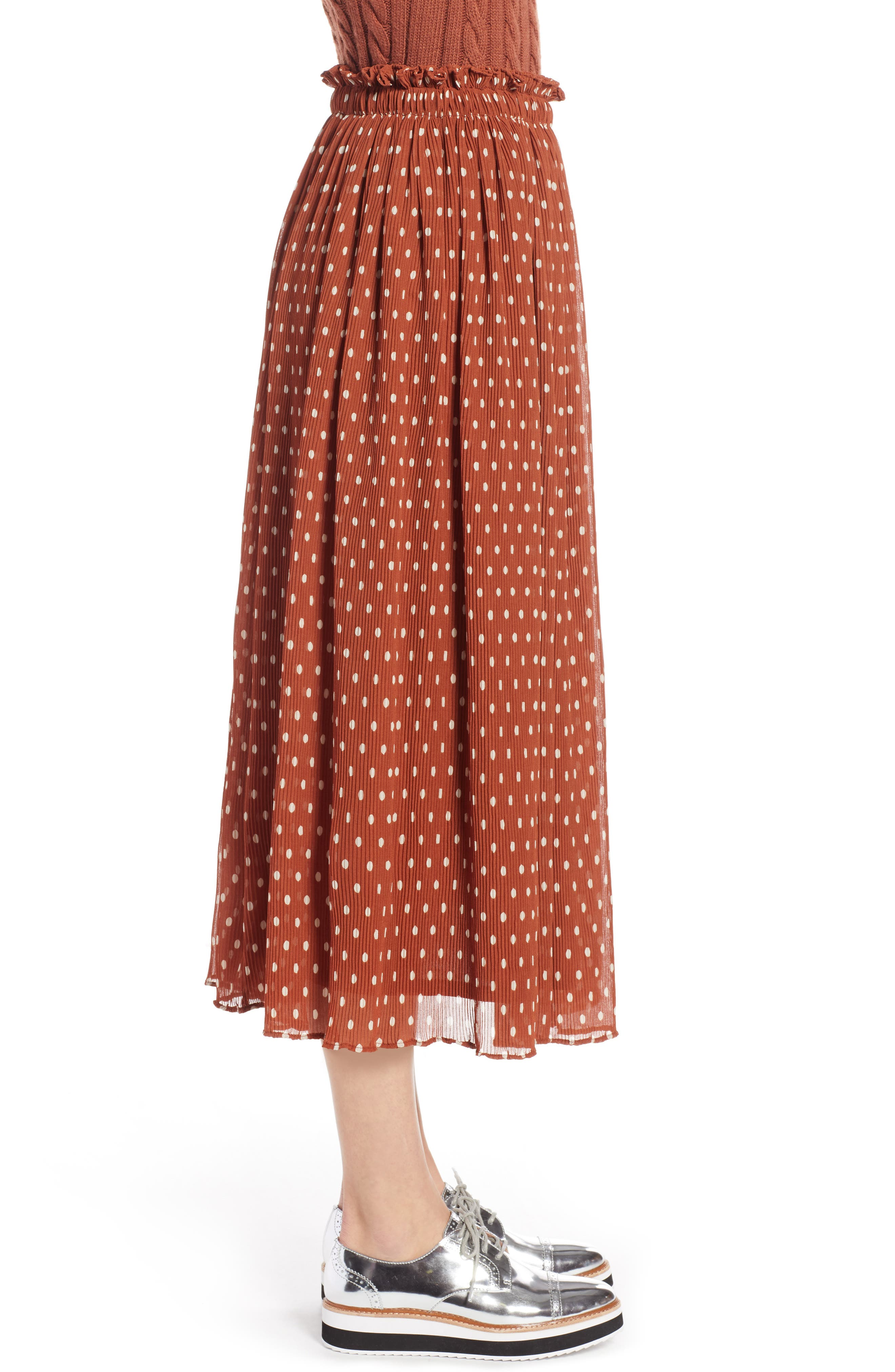 x Atlantic-Pacific Crinkle Midi Skirt,                             Alternate thumbnail 4, color,                             RUST SPACED DOT