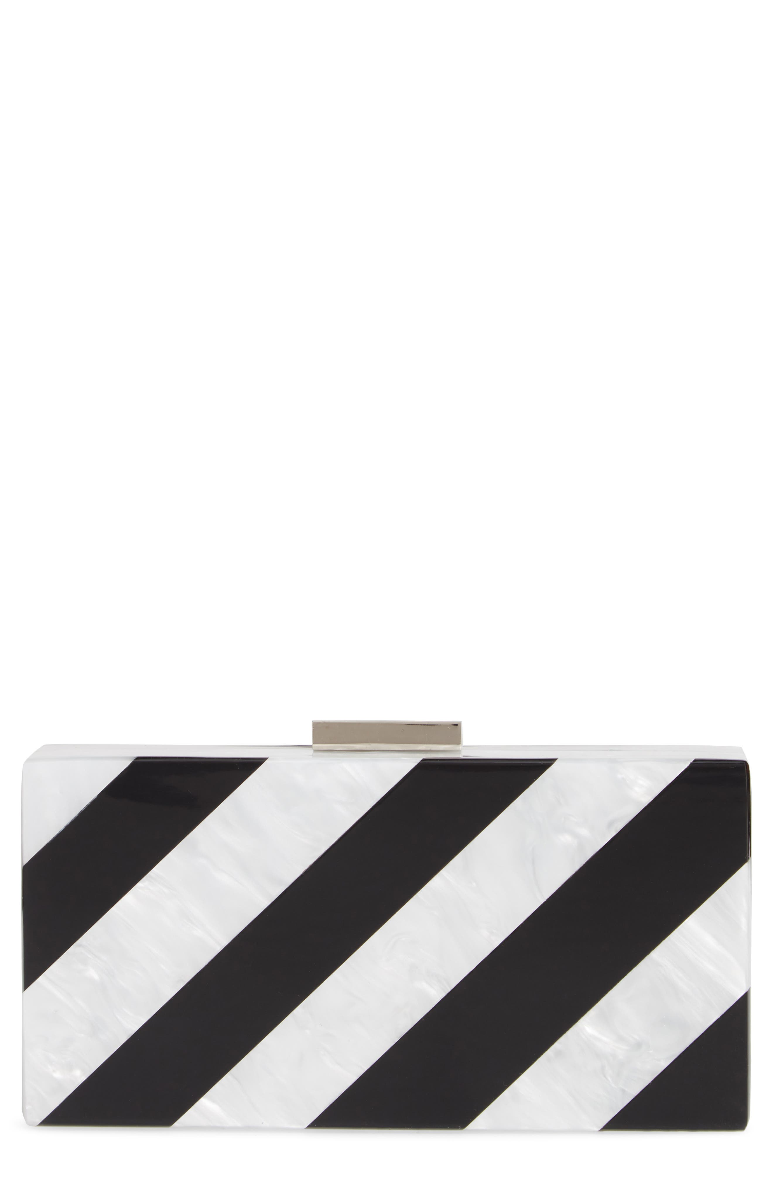 Stripe Box Clutch,                             Main thumbnail 1, color,                             BLACK MULTI