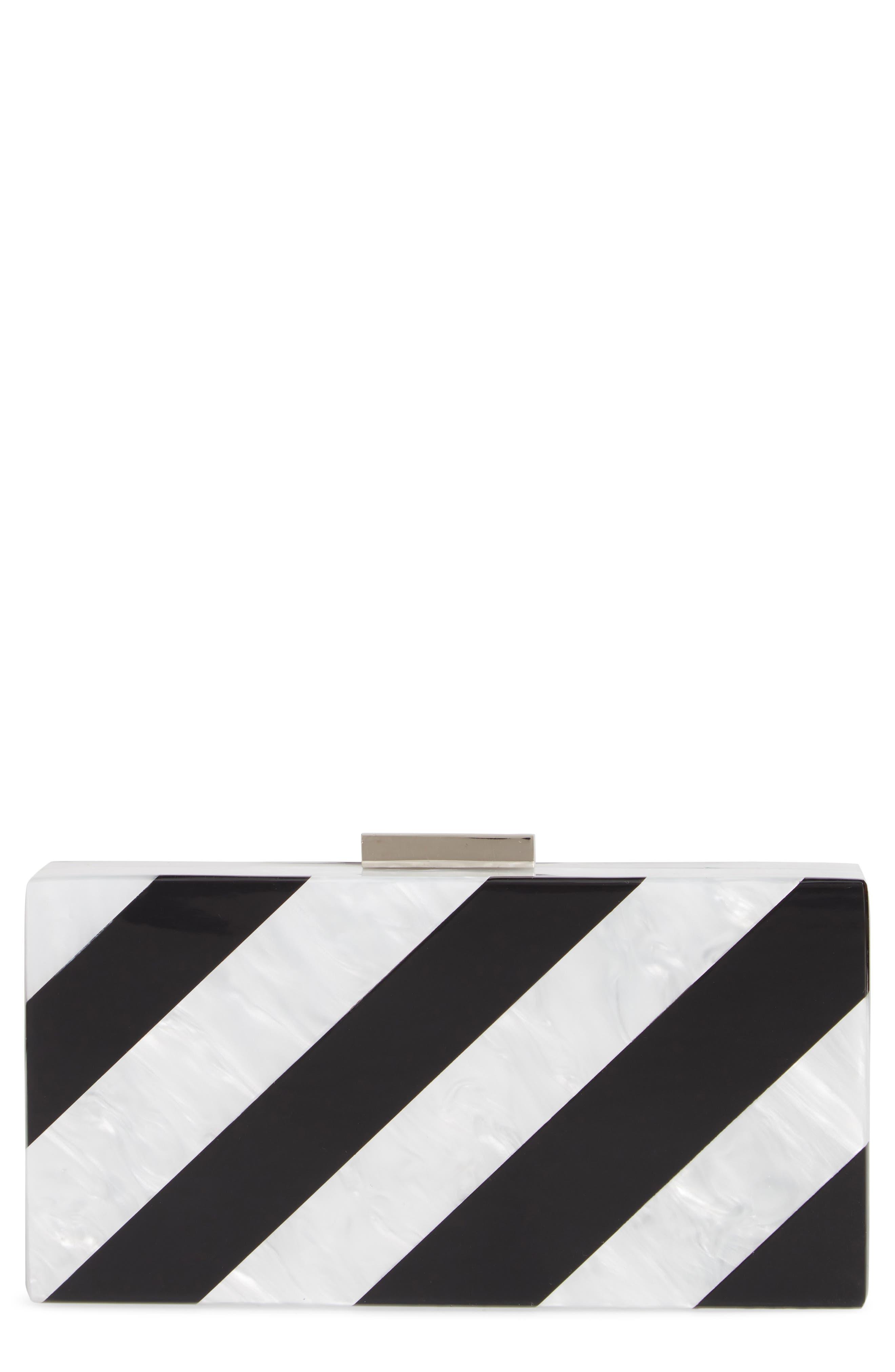 Stripe Box Clutch, Main, color, BLACK MULTI