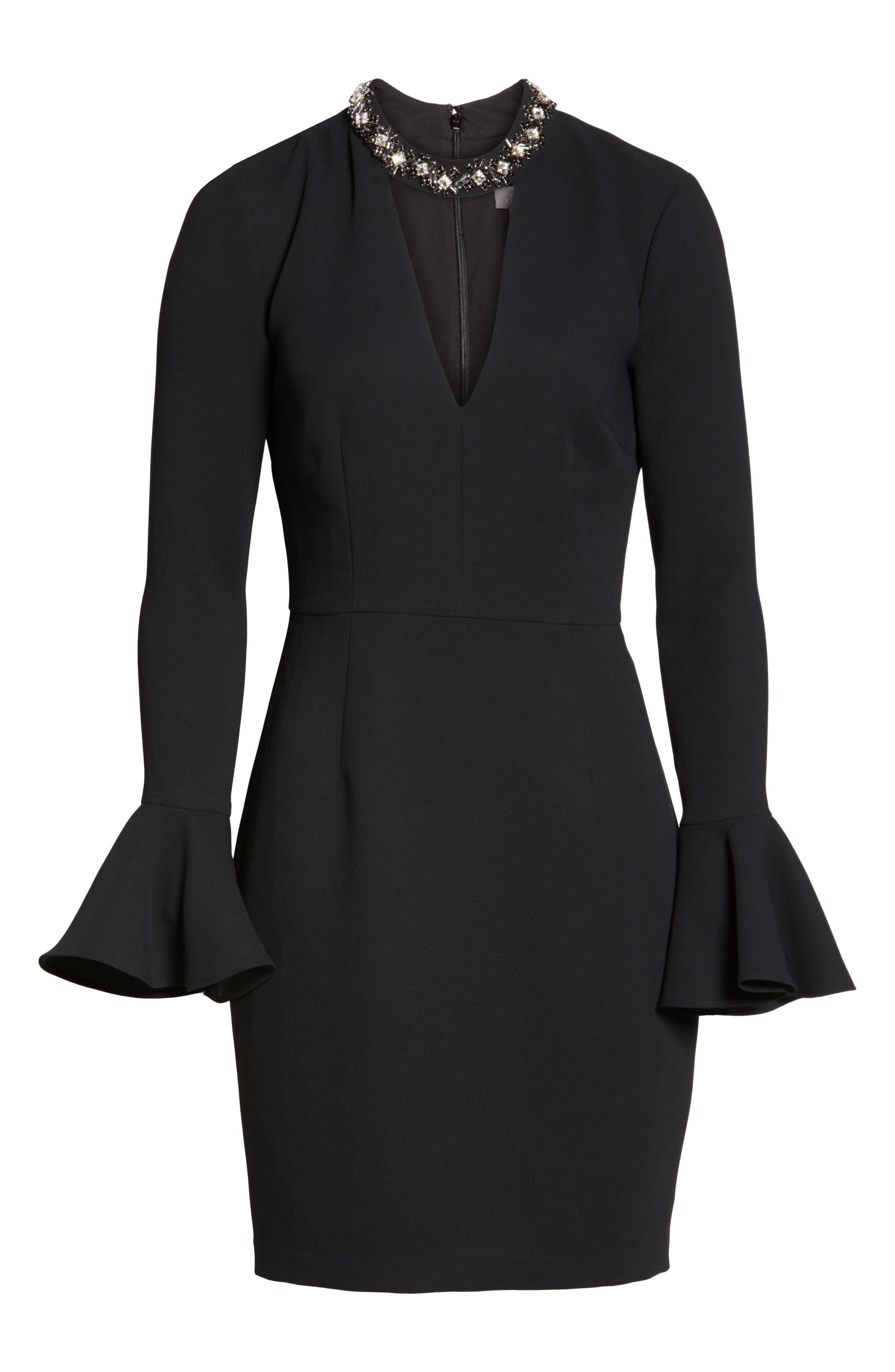 Crystal Choker Bell Sleeve Sheath Dress,                             Alternate thumbnail 11, color,