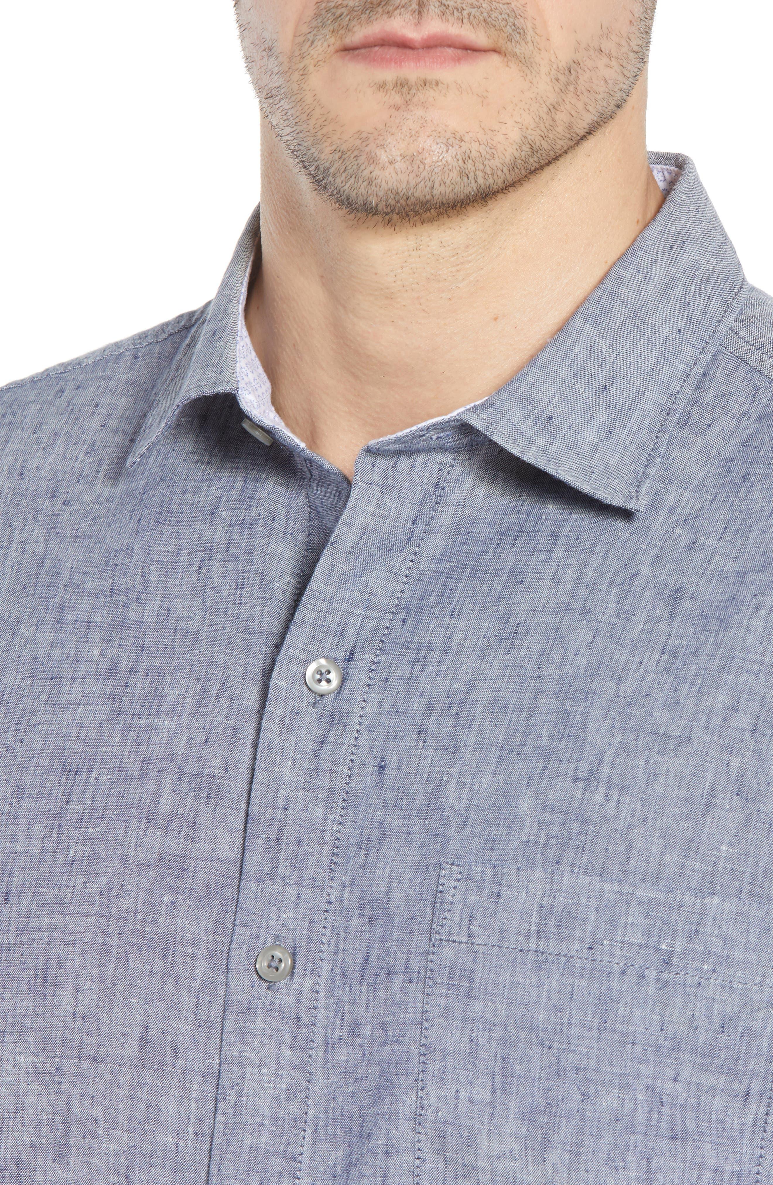 Lanai Tides Linen Blend Sport Shirt,                             Alternate thumbnail 4, color,                             THRONE BLUE