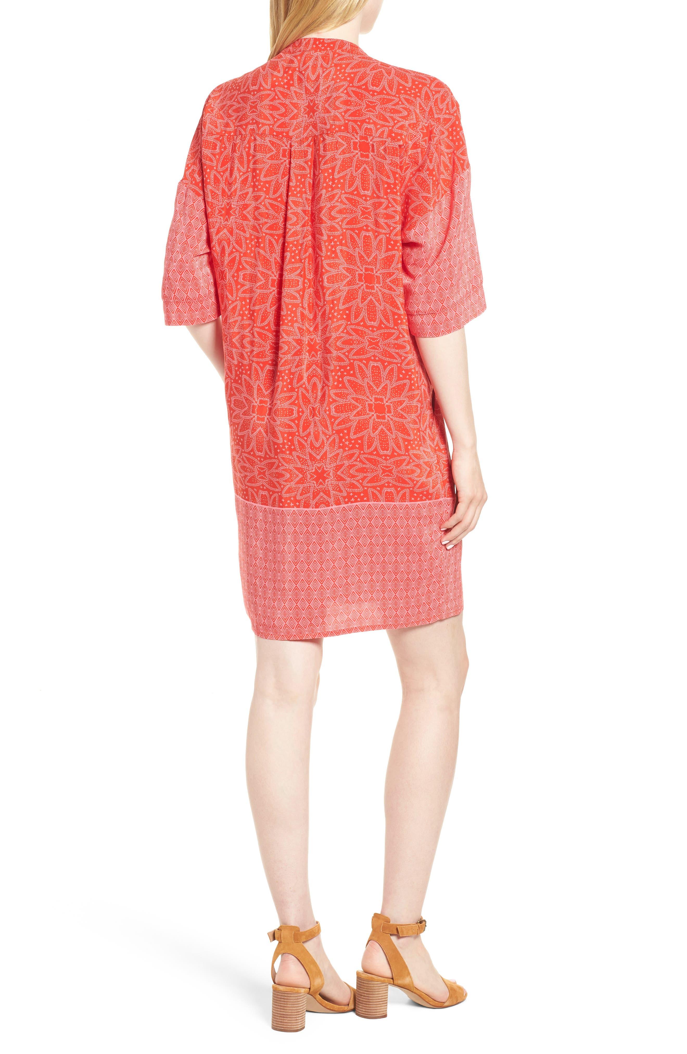 Luna Riya Print Dress,                             Alternate thumbnail 2, color,                             RED/ MULTI