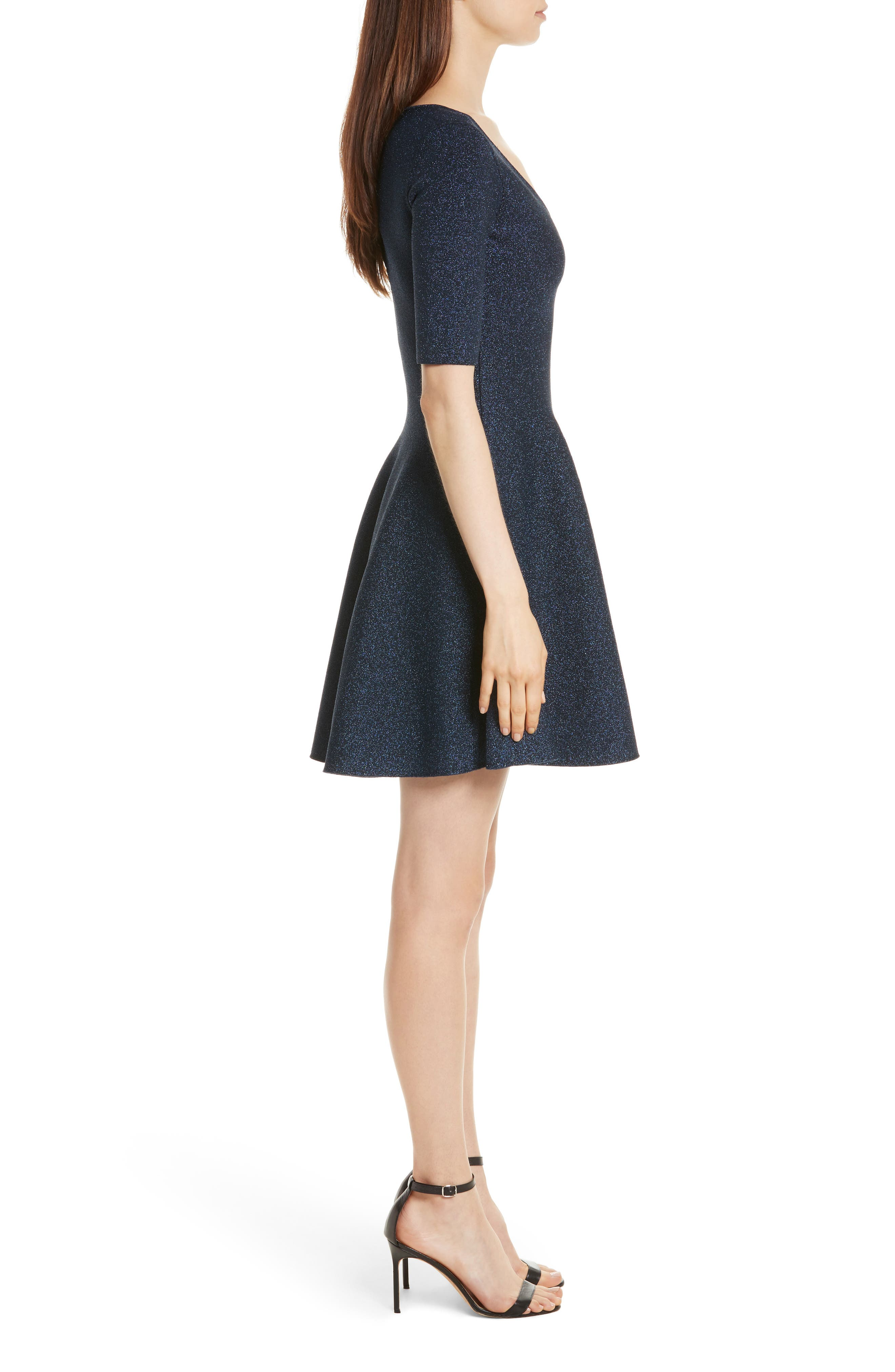 Metallic Double Knit Fit & Flare Dress,                             Alternate thumbnail 3, color,                             410