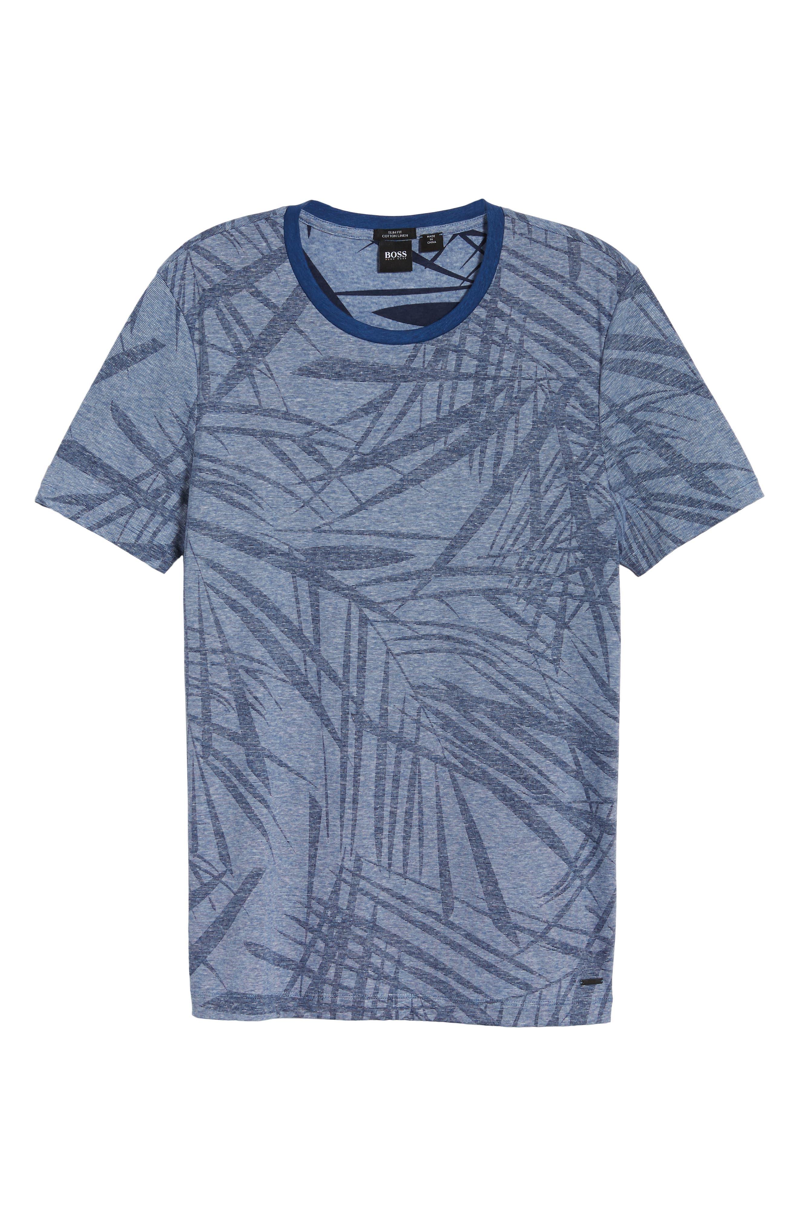 Tessler Slim Fit Palm Print T-Shirt,                             Alternate thumbnail 6, color,                             429