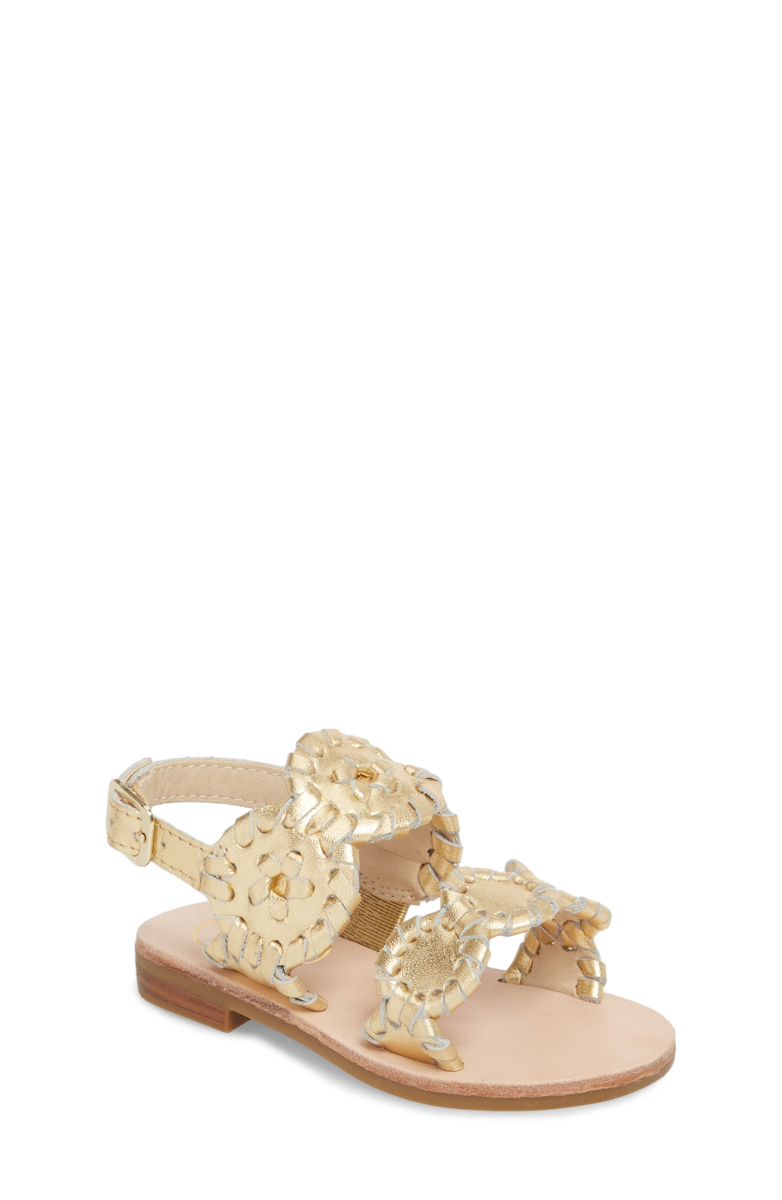 Little Miss Lauren Sandal,                             Main thumbnail 1, color,                             GOLD LEATHER