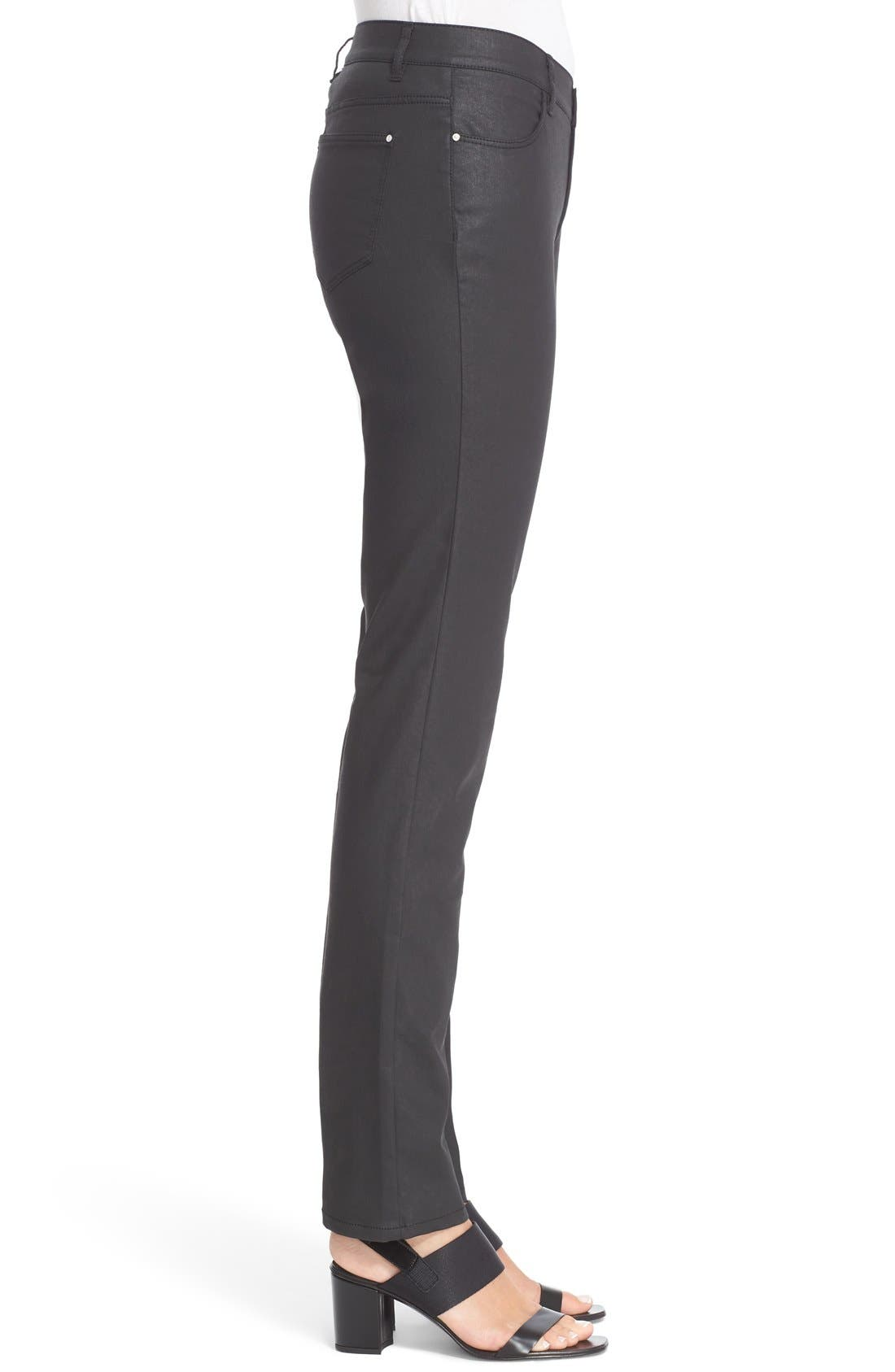 Waxed Denim Slim Leg Jeans,                             Alternate thumbnail 7, color,                             BLACK