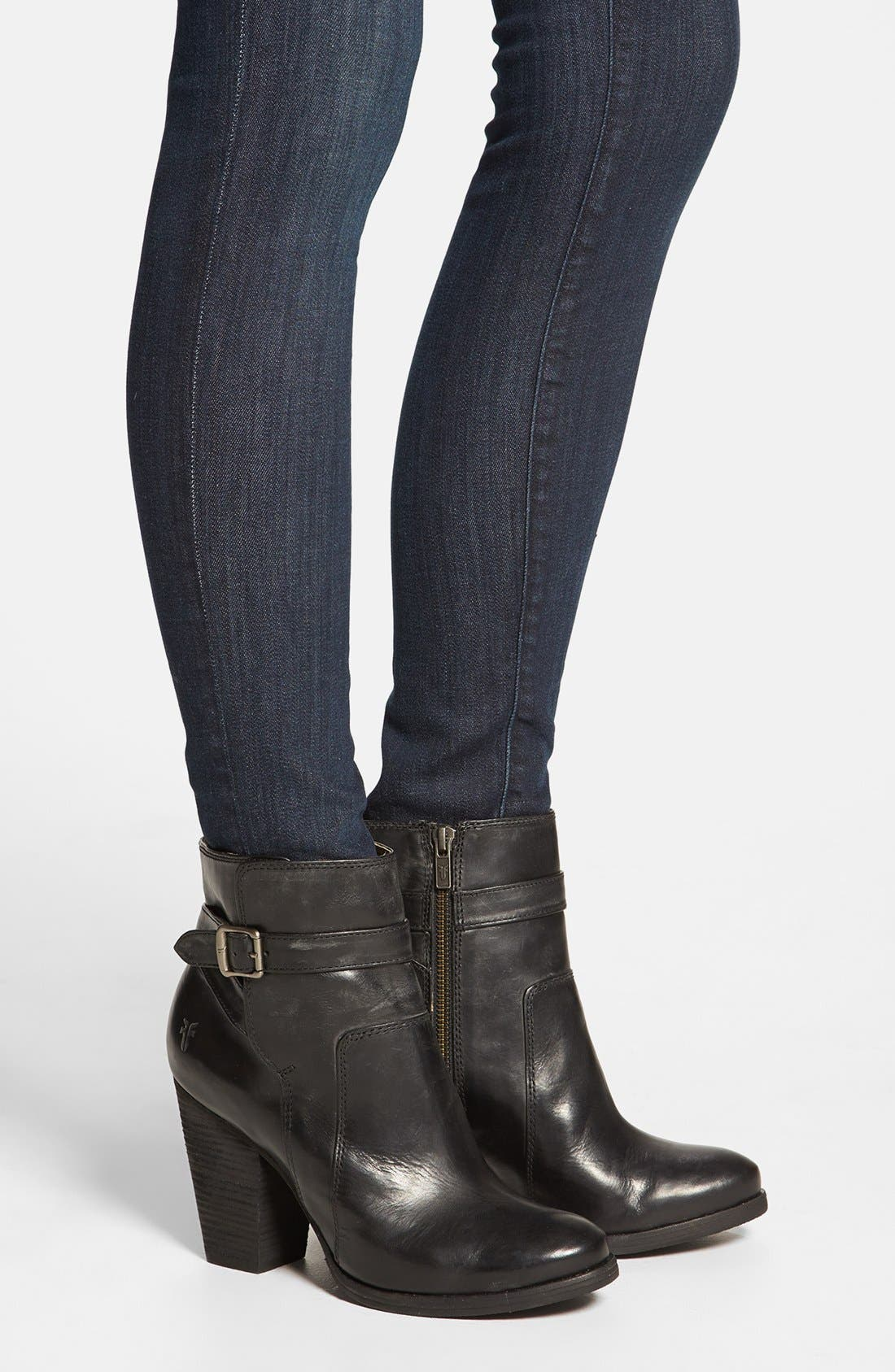 'Patty' Leather Riding Bootie,                             Alternate thumbnail 4, color,                             001