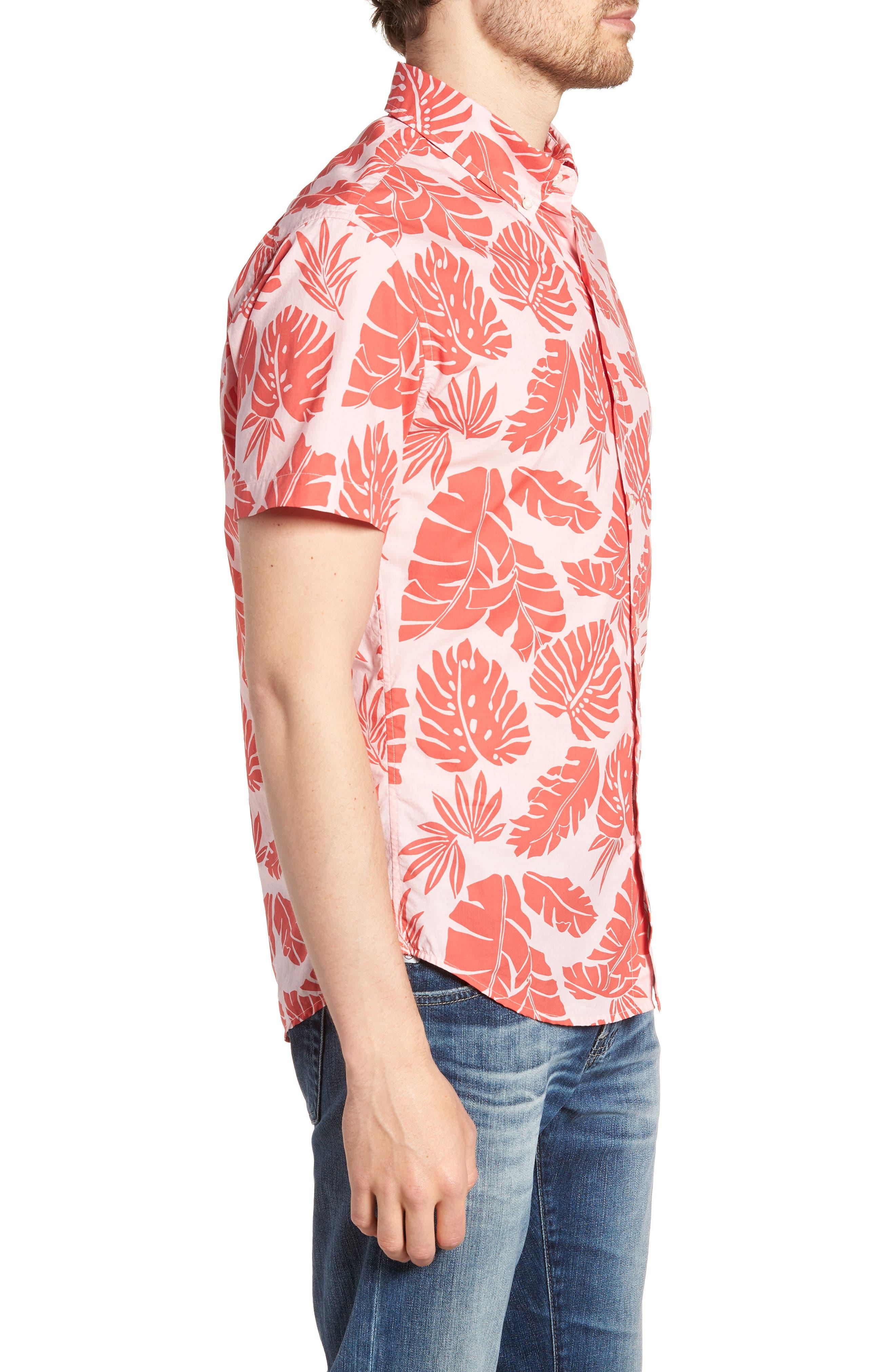 Riviera Slim Fit Palm Print Sport Shirt,                             Alternate thumbnail 3, color,                             PALM SCATTER - CORAL FAN