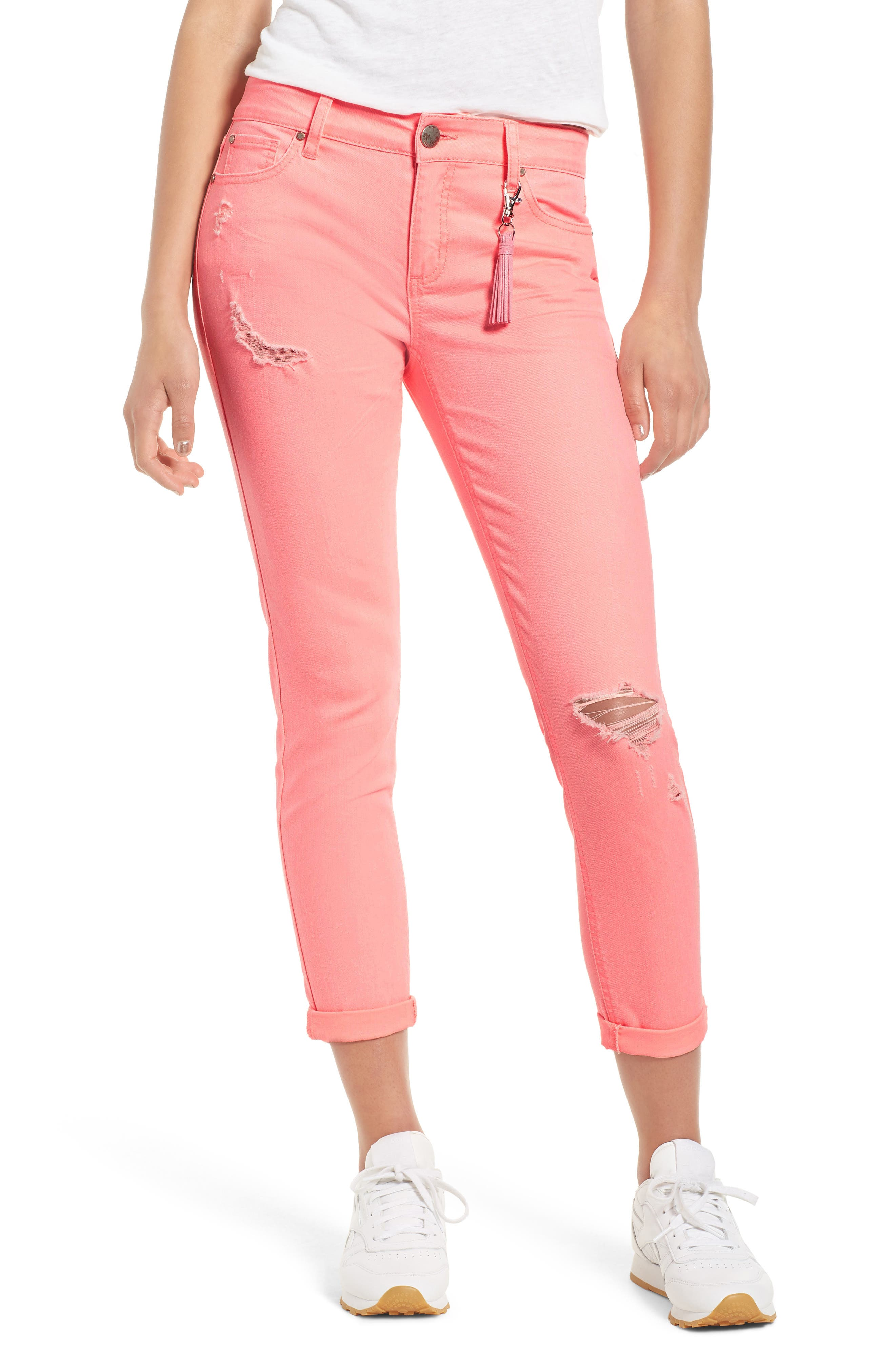 Distressed Roll Cuff Skinny Jeans,                             Main thumbnail 2, color,