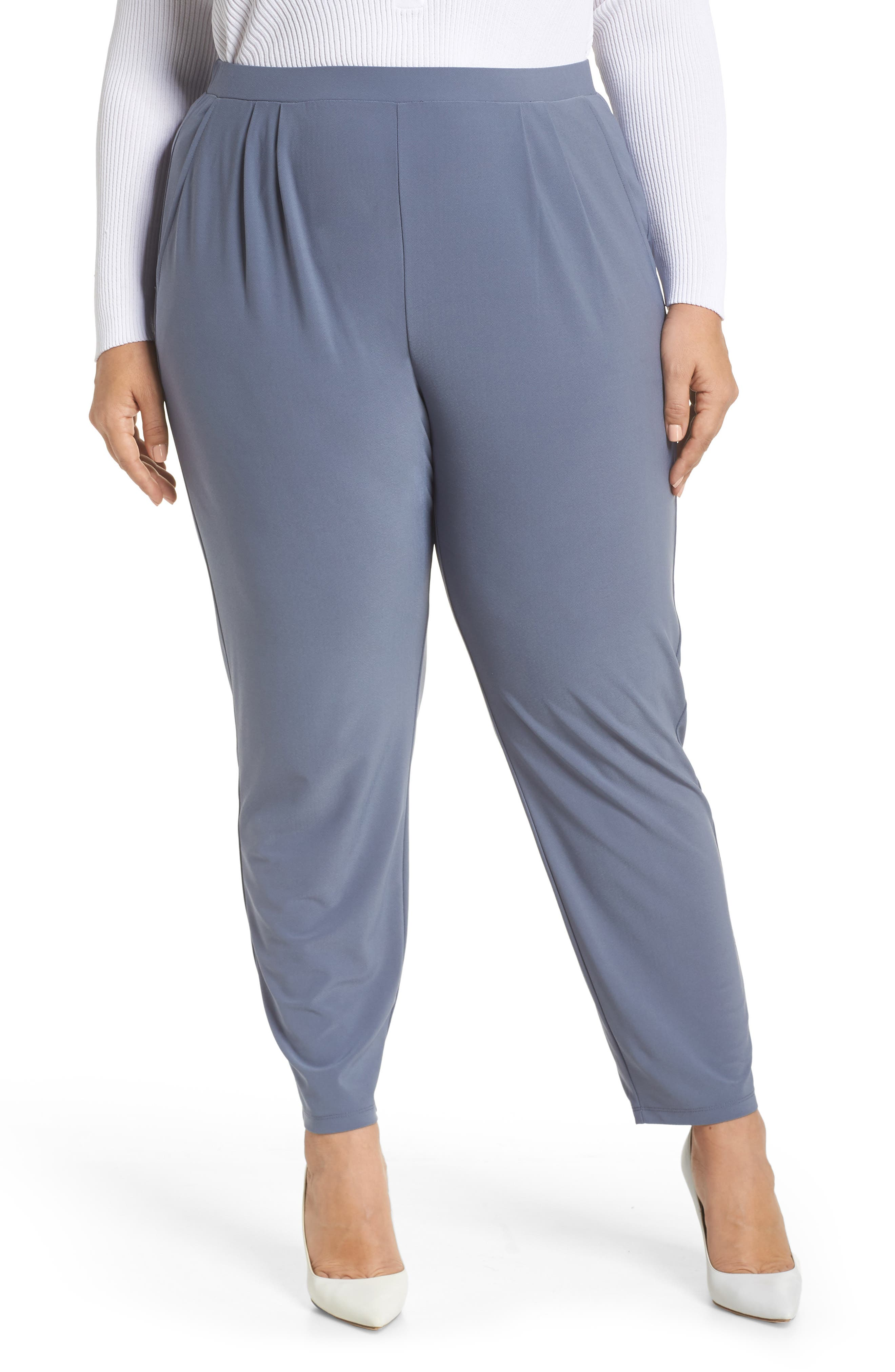 High Rise Pleated Pants, Main, color, GREY GRISAILLE