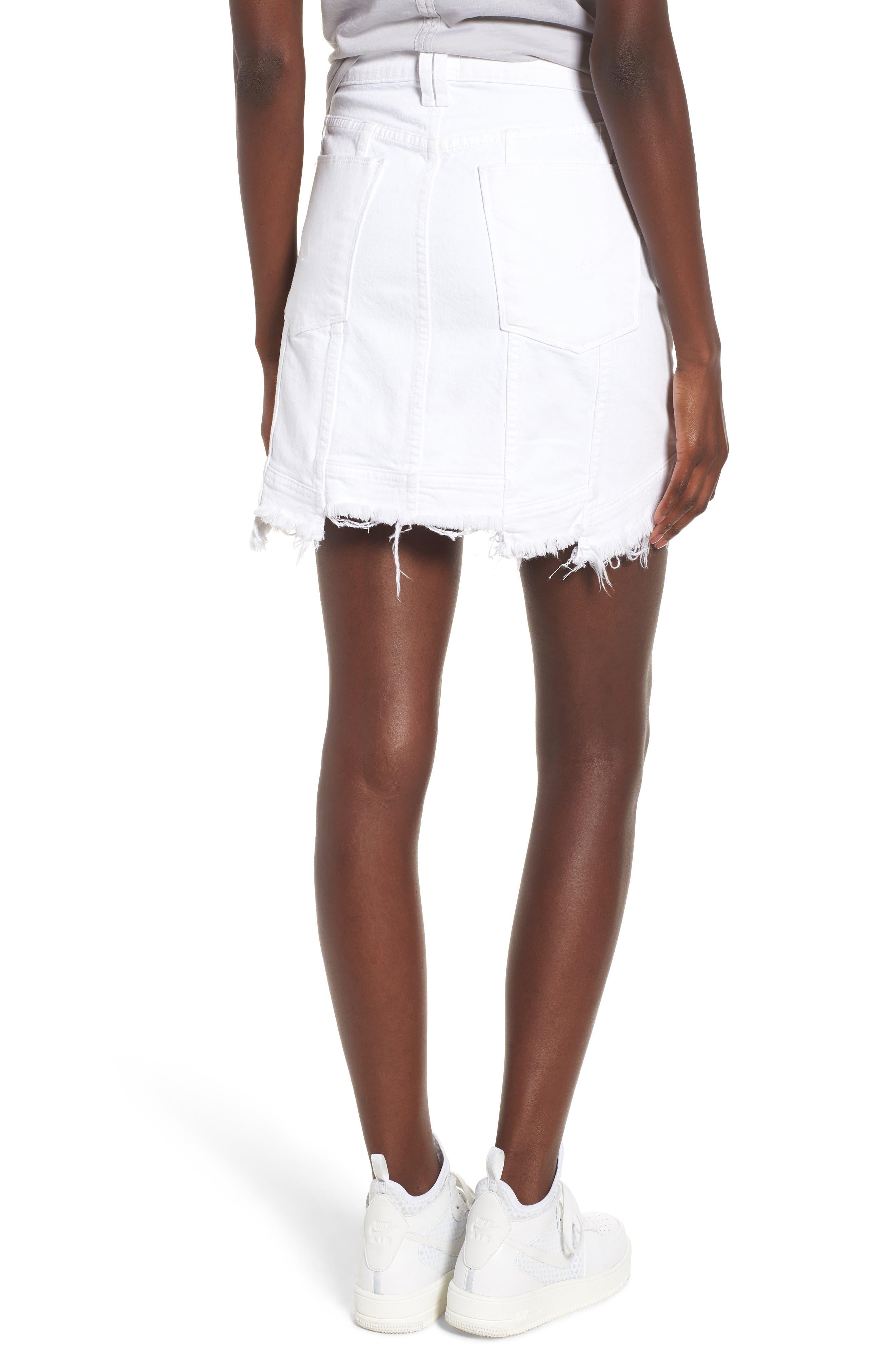 Raw Step Hem Denim Skirt,                             Alternate thumbnail 2, color,                             120
