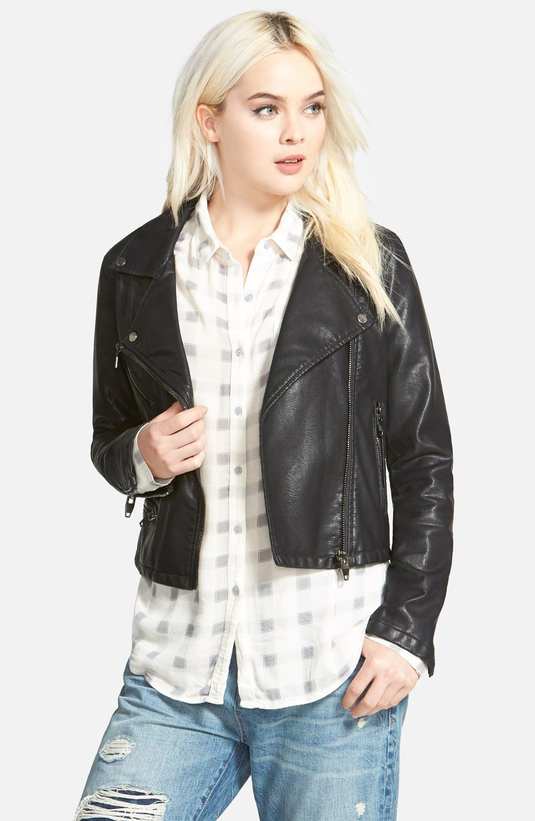 Faux Leather Moto Jacket,                             Main thumbnail 1, color,                             001