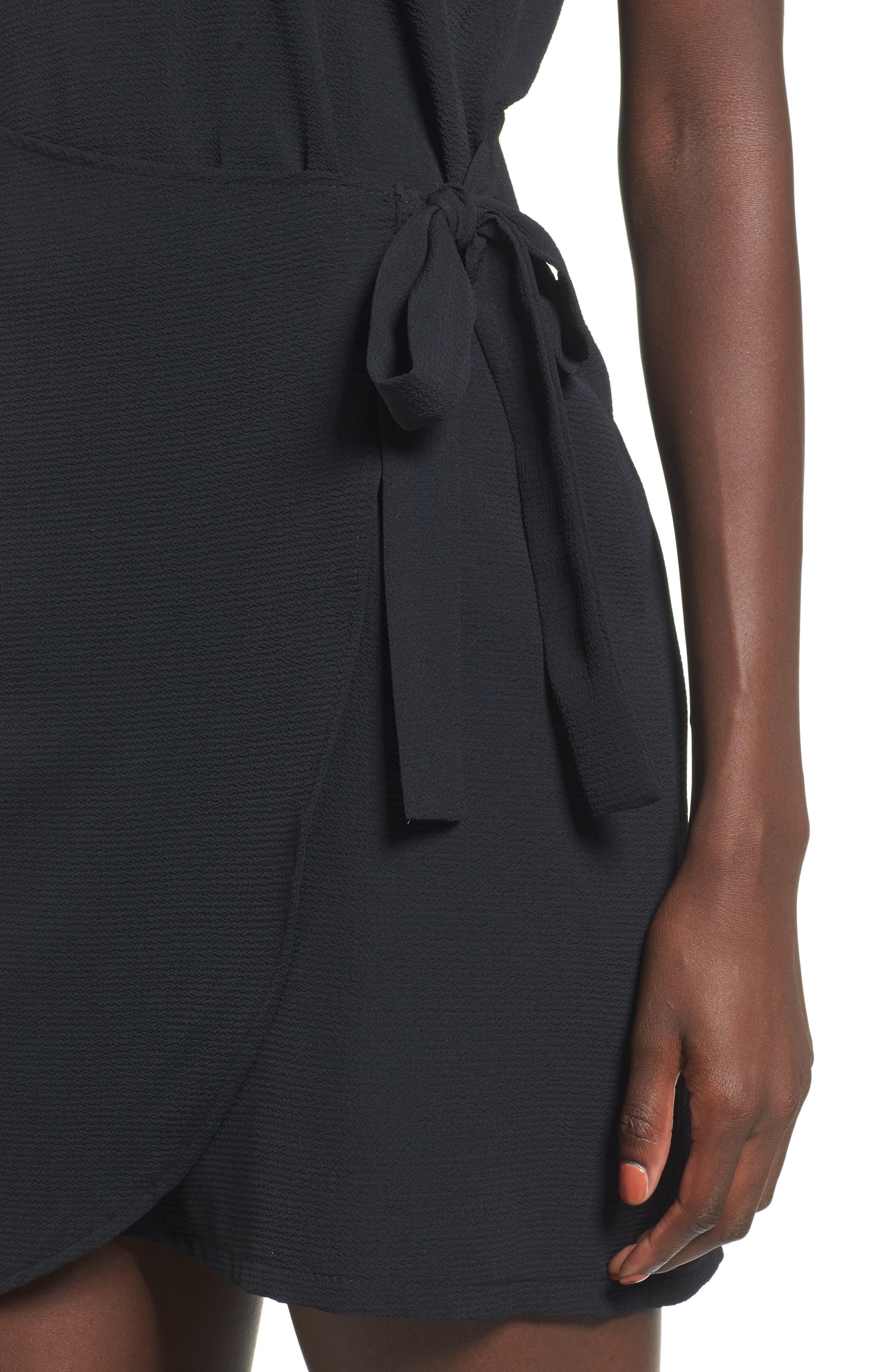 Wrap Skirt Dress,                             Alternate thumbnail 4, color,                             001