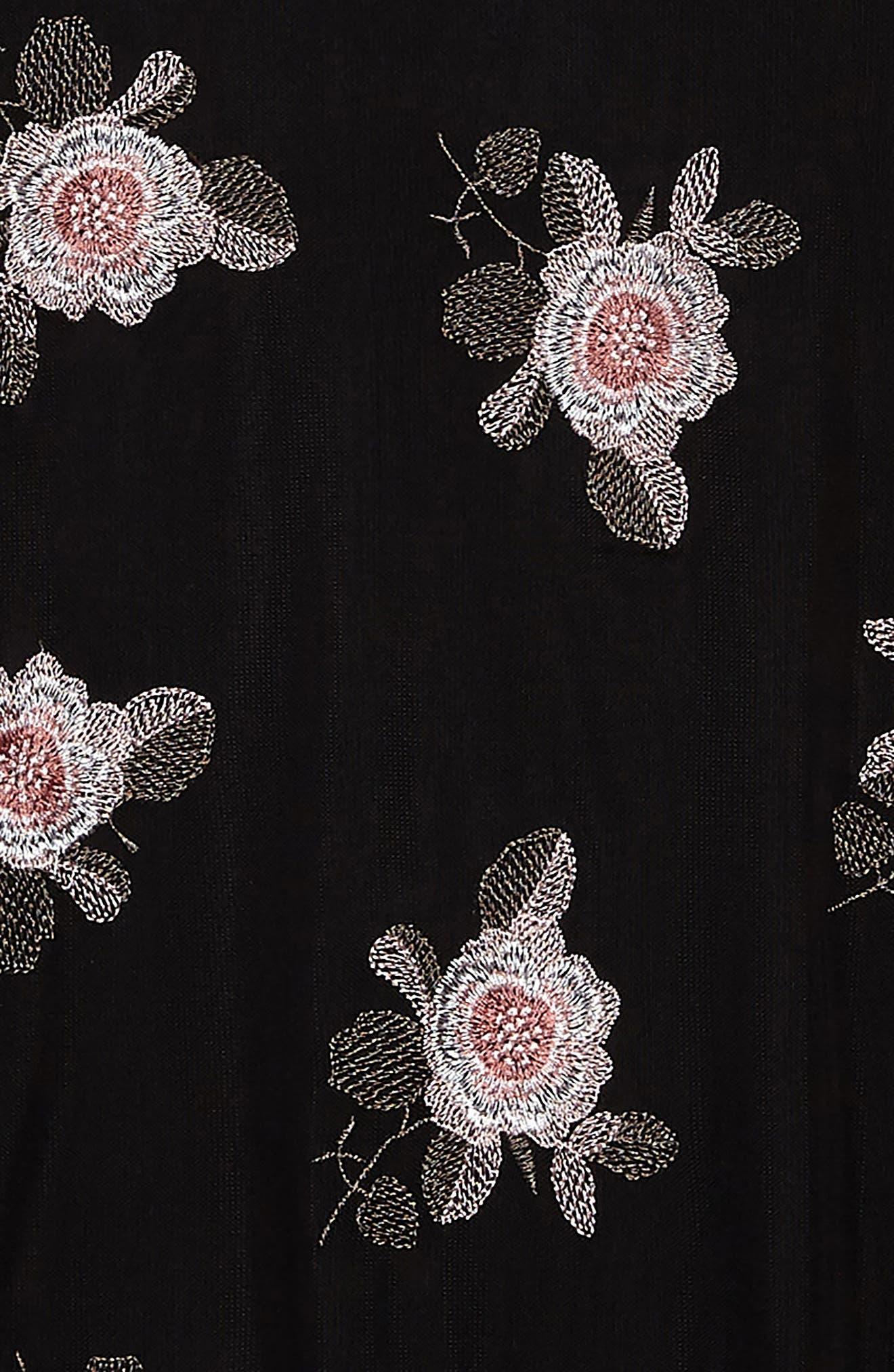 Flower Embroidered Mesh Dress,                             Alternate thumbnail 3, color,                             001