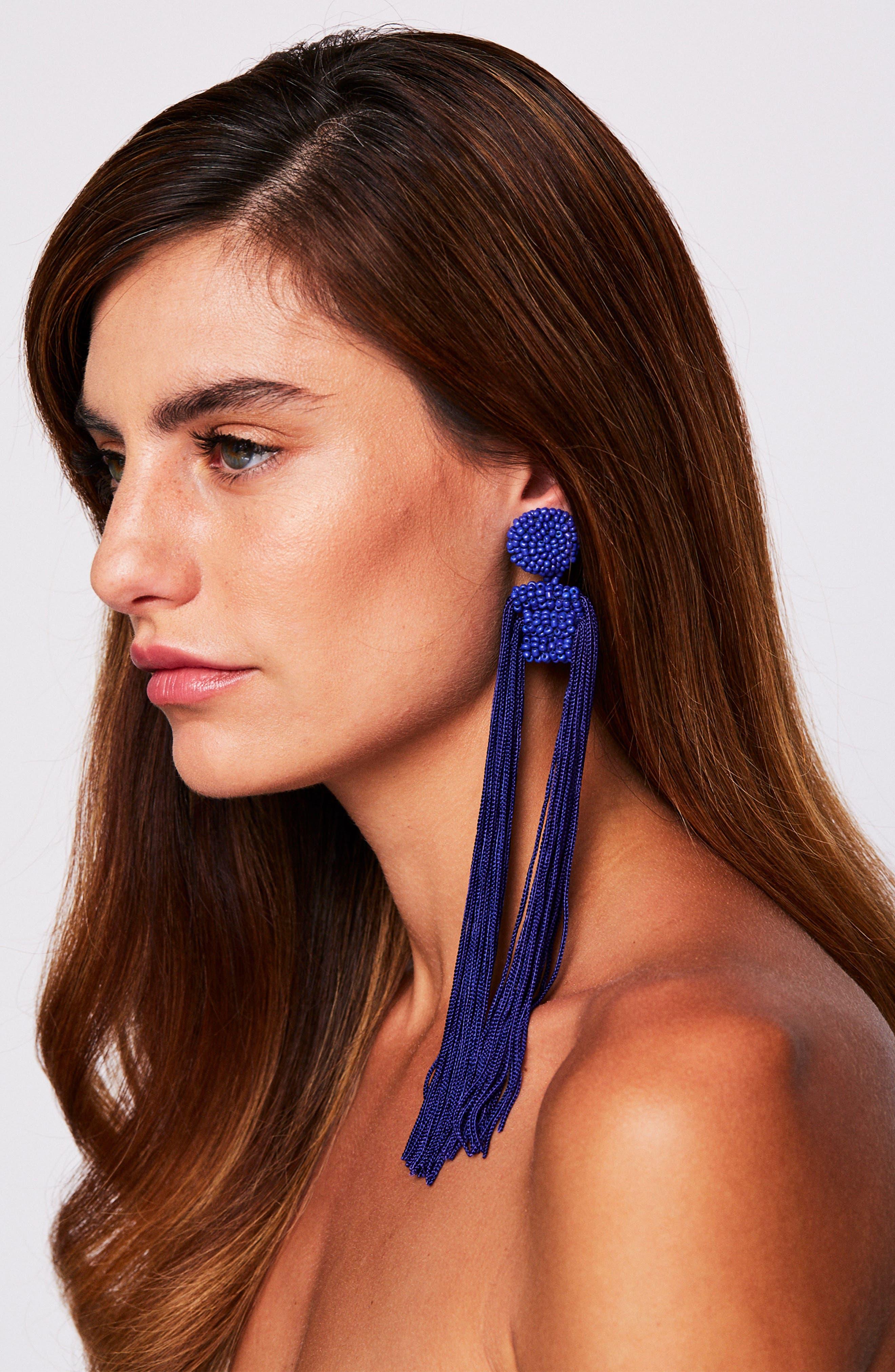 Tropicana Long Tassel Earrings,                             Alternate thumbnail 9, color,
