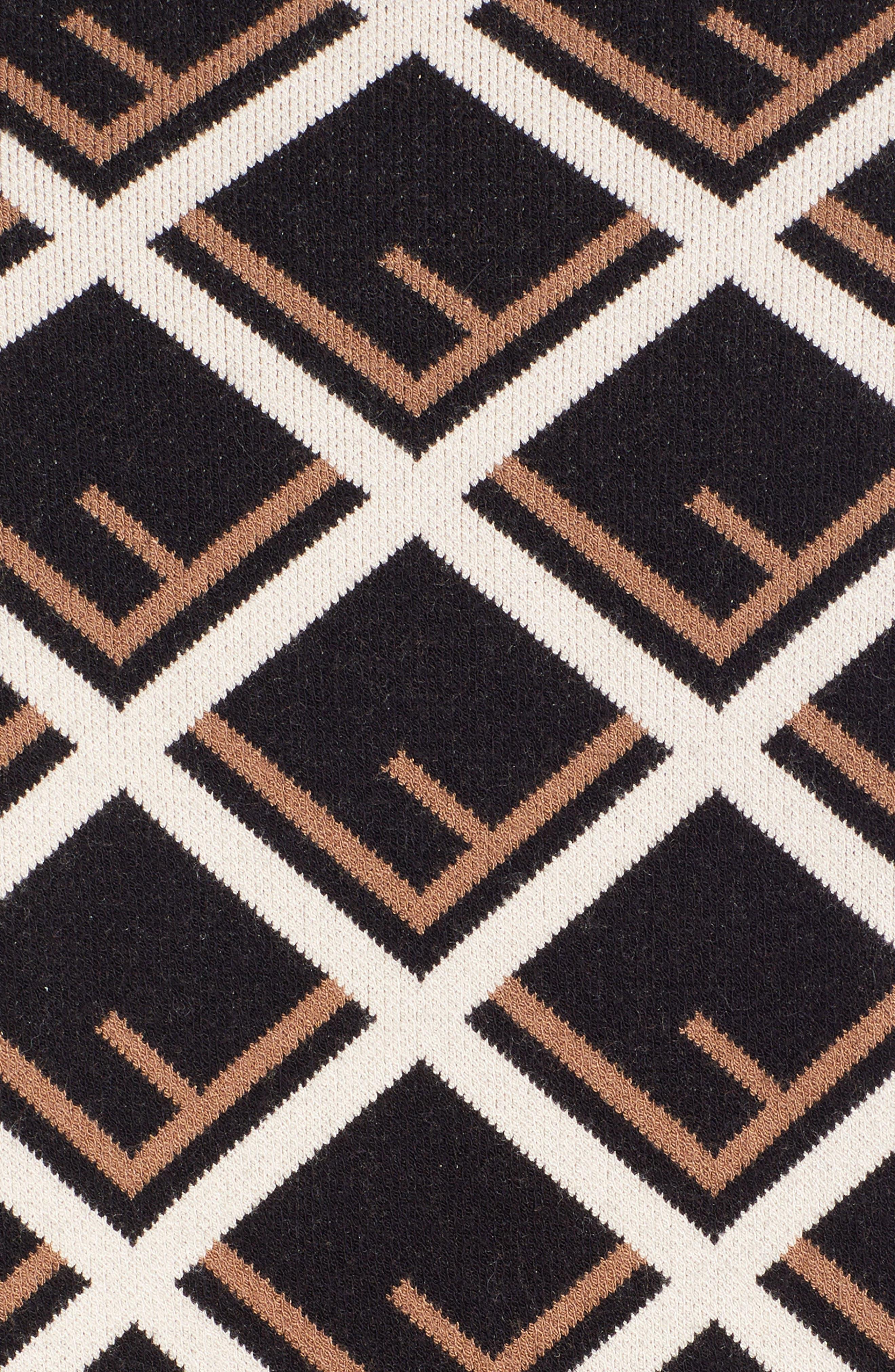 Logo Pattern Midi Dress,                             Alternate thumbnail 5, color,                             001
