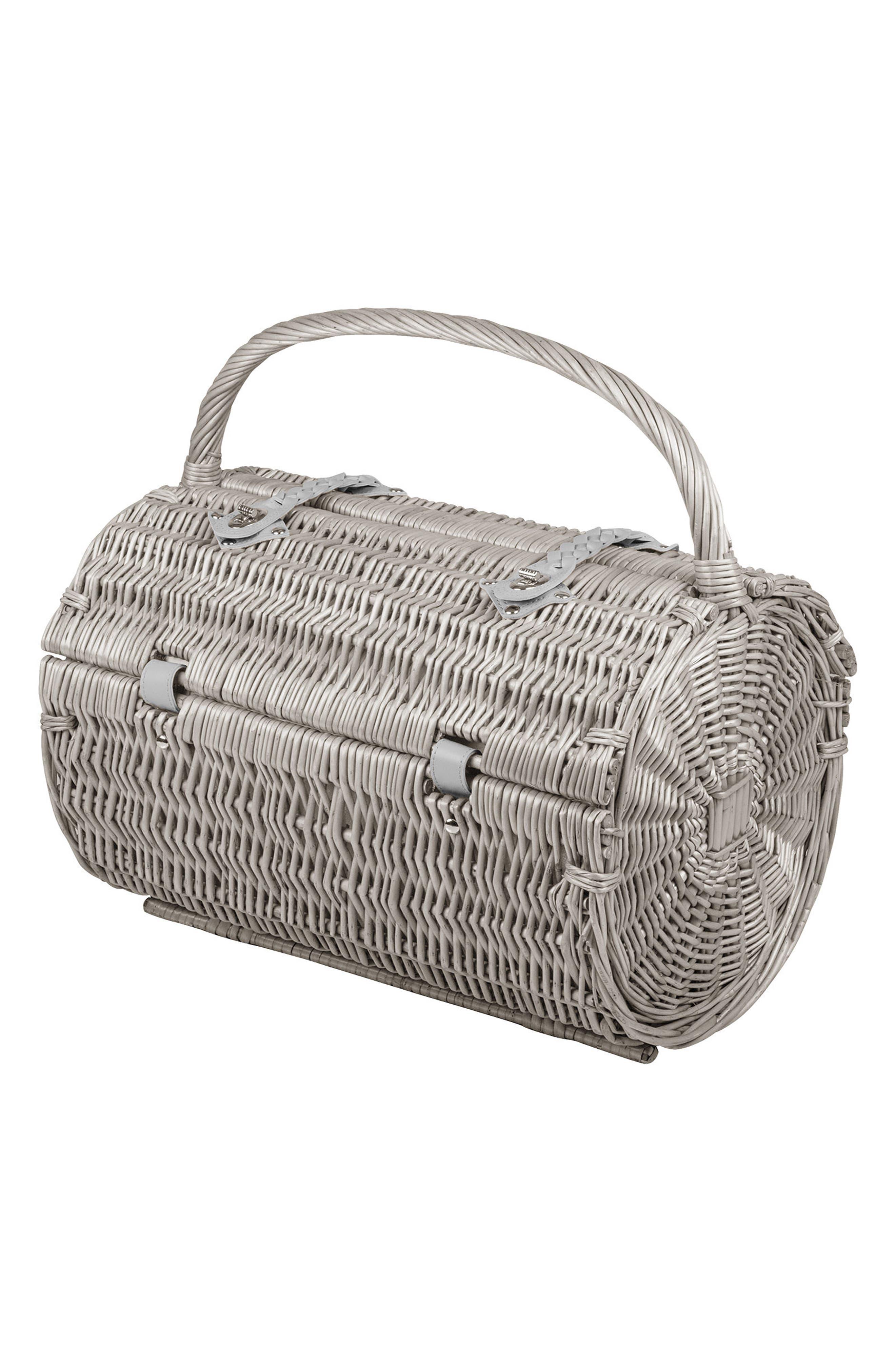 Wicker Barrel Picnic Basket,                             Main thumbnail 1, color,                             400