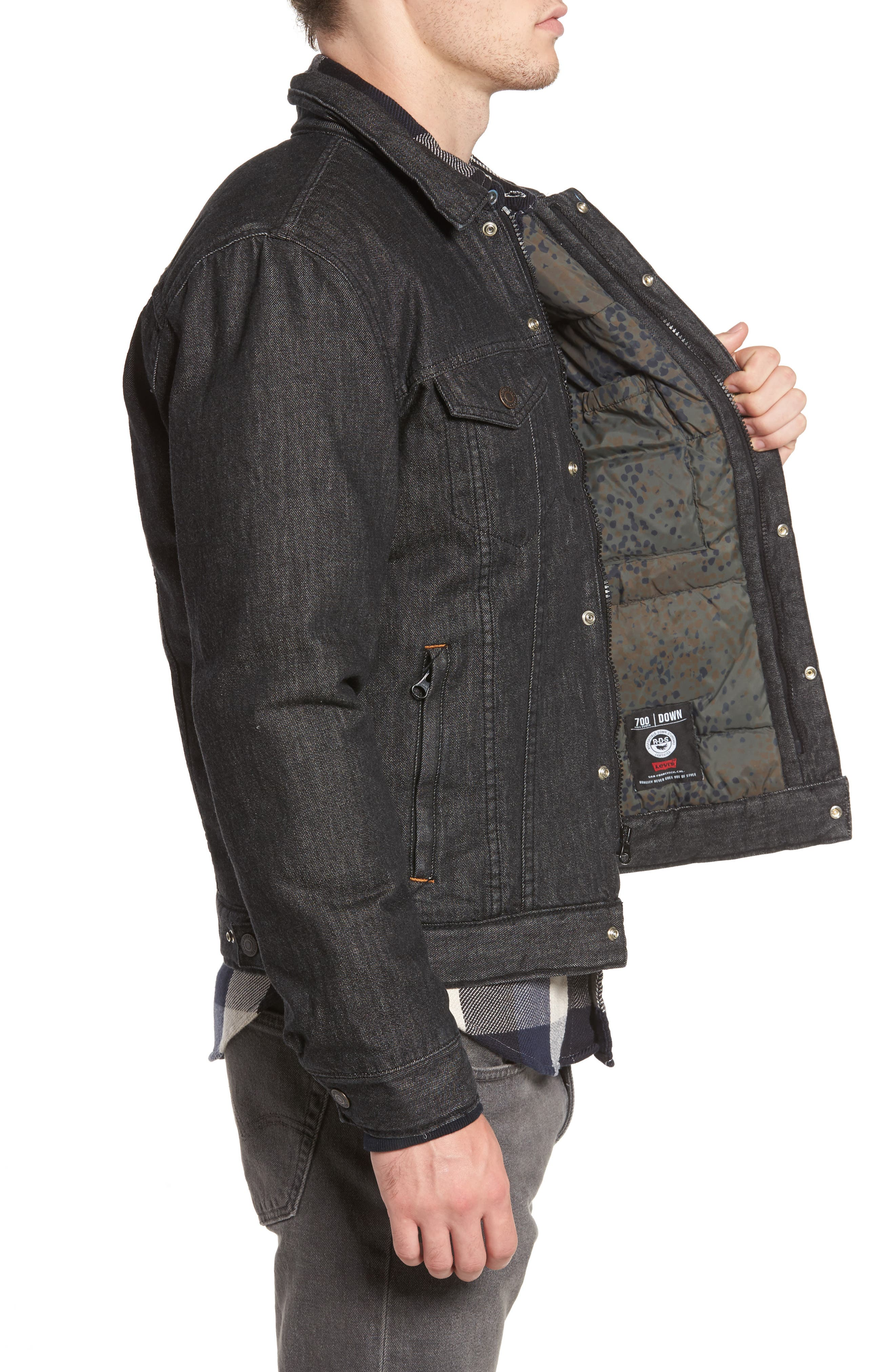 Down Insulated Trucker Jacket,                             Alternate thumbnail 3, color,