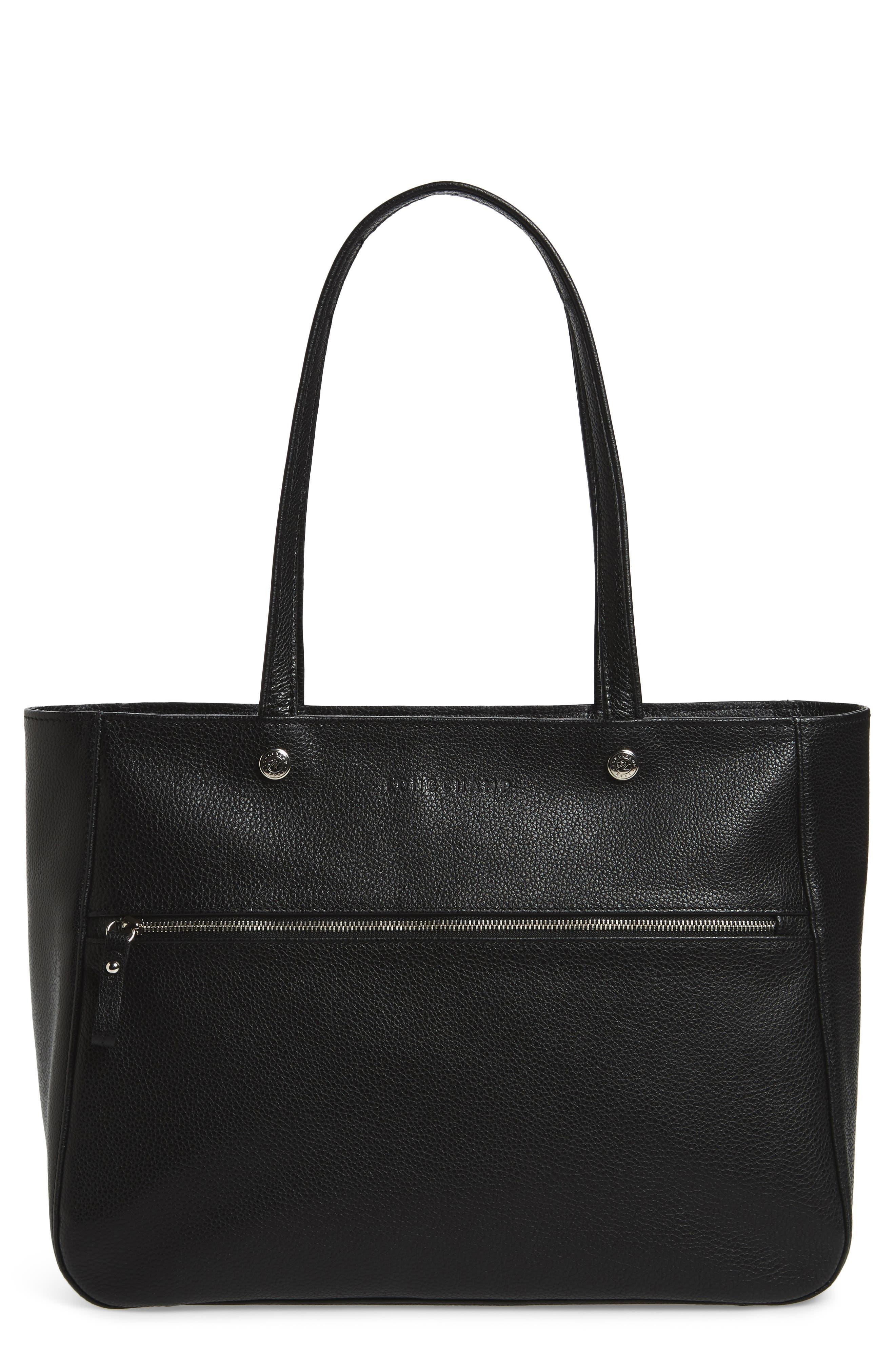 Le Foulonné Leather Tote,                             Main thumbnail 1, color,                             BLACK