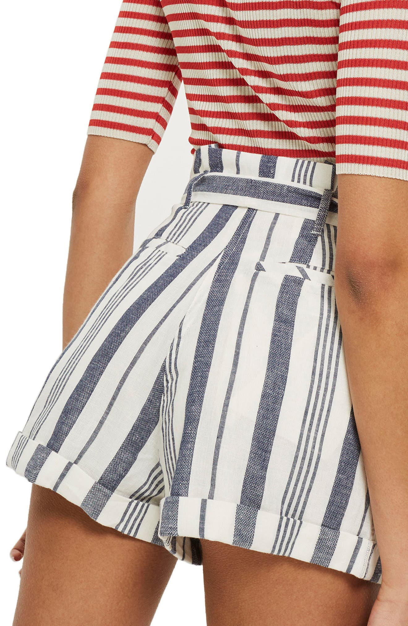 Stripe Paperbag Shorts,                             Alternate thumbnail 2, color,                             900