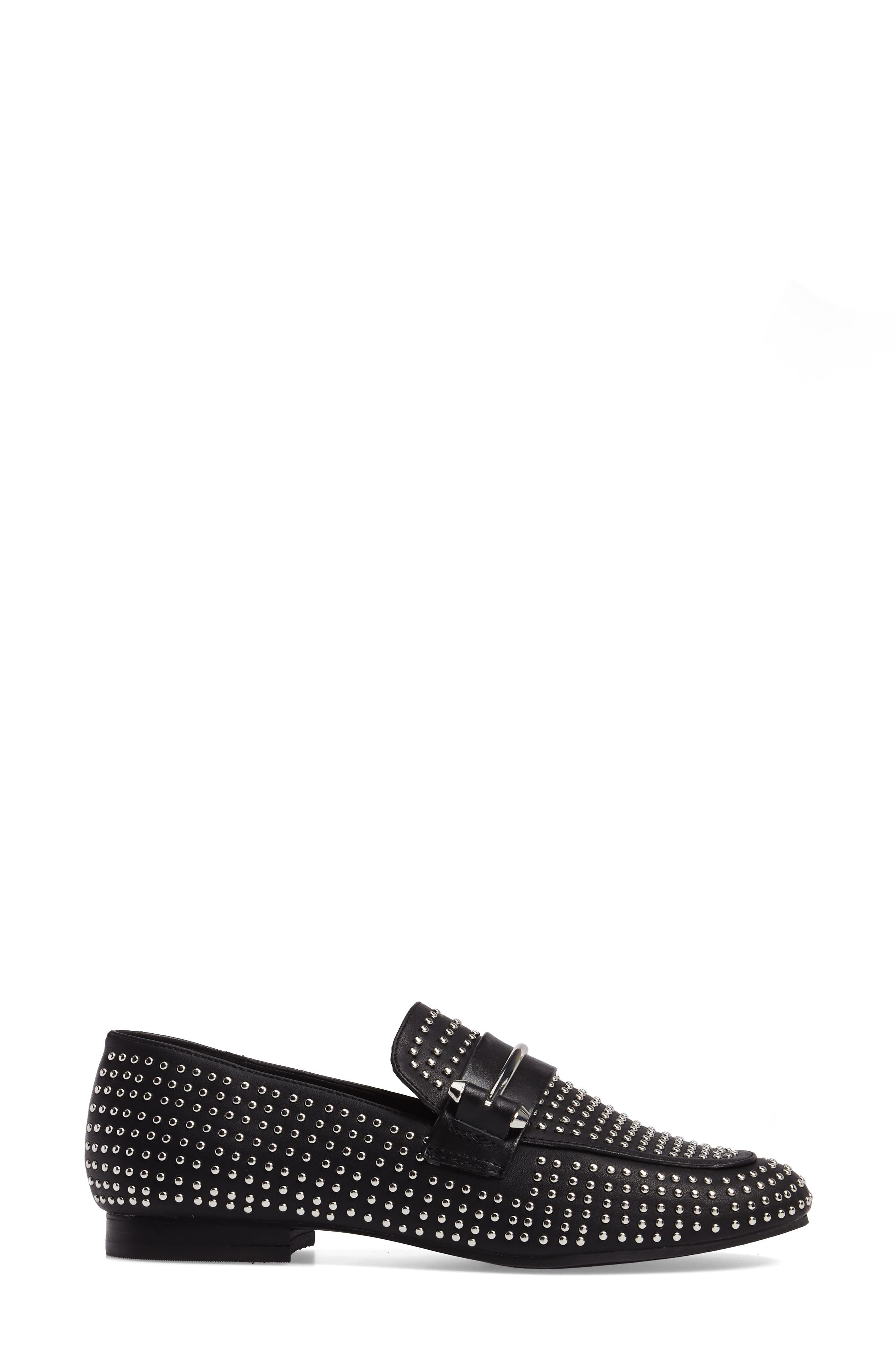Kast Studded Loafer,                             Alternate thumbnail 3, color,                             001