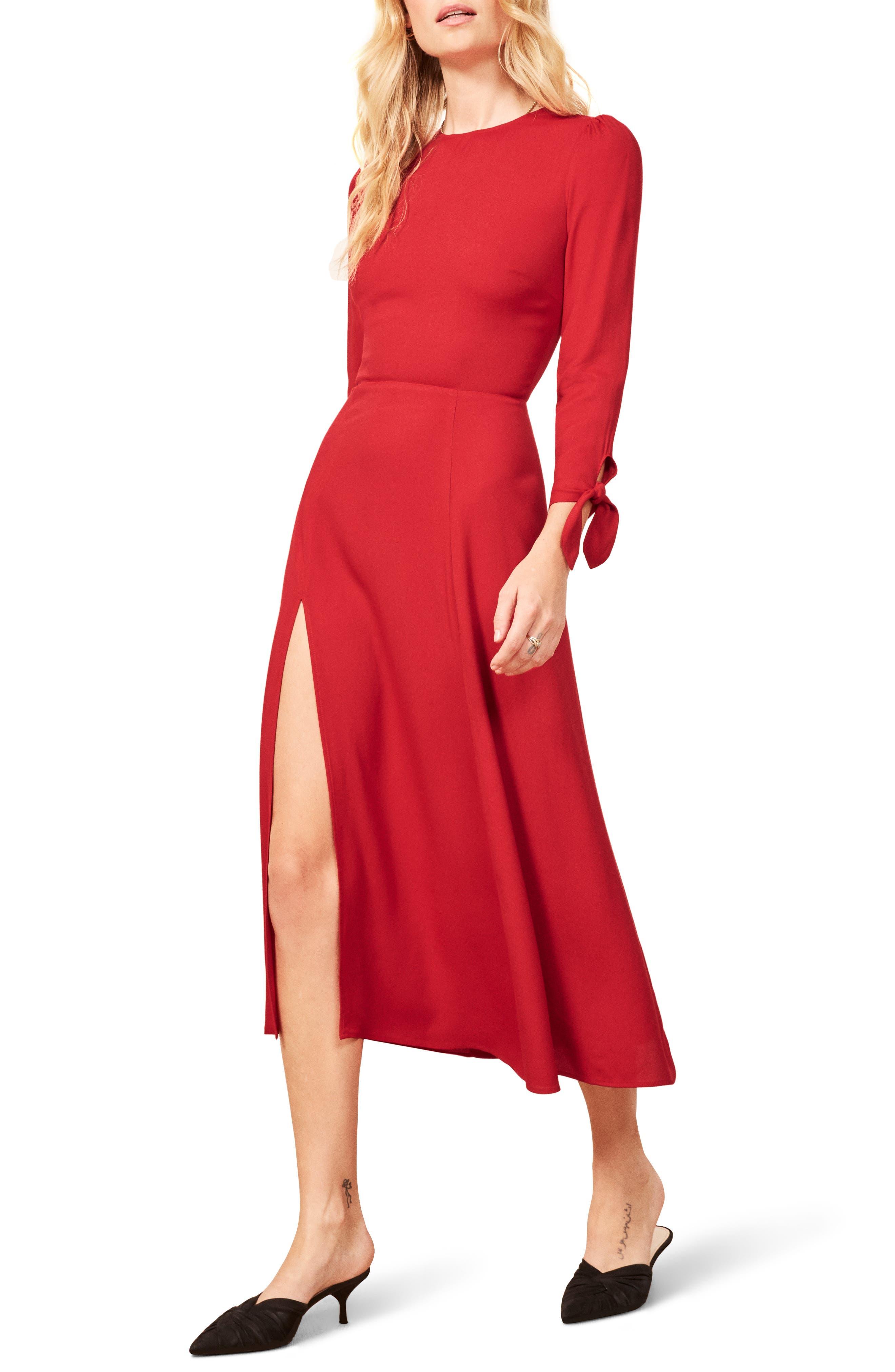 Zelda Double Slit Dress,                         Main,                         color, CHERRY