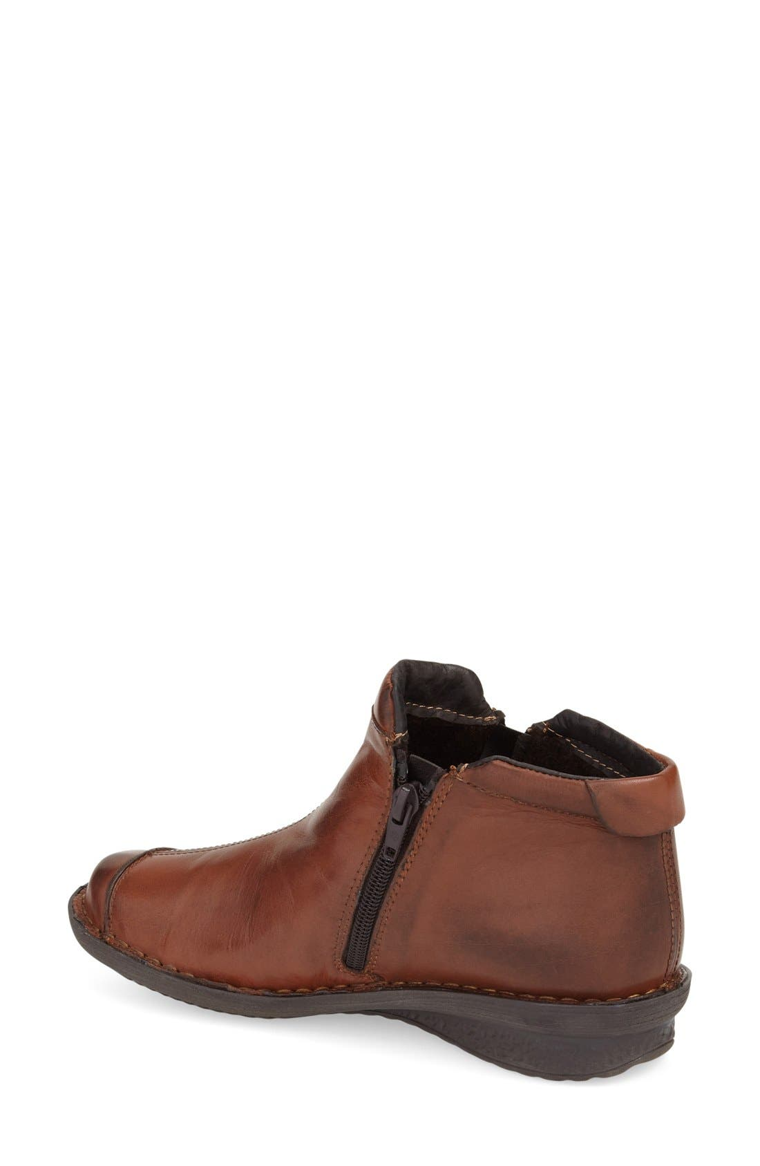 'Euro' Zip Bootie,                             Alternate thumbnail 3, color,                             LUGGAGE LEATHER