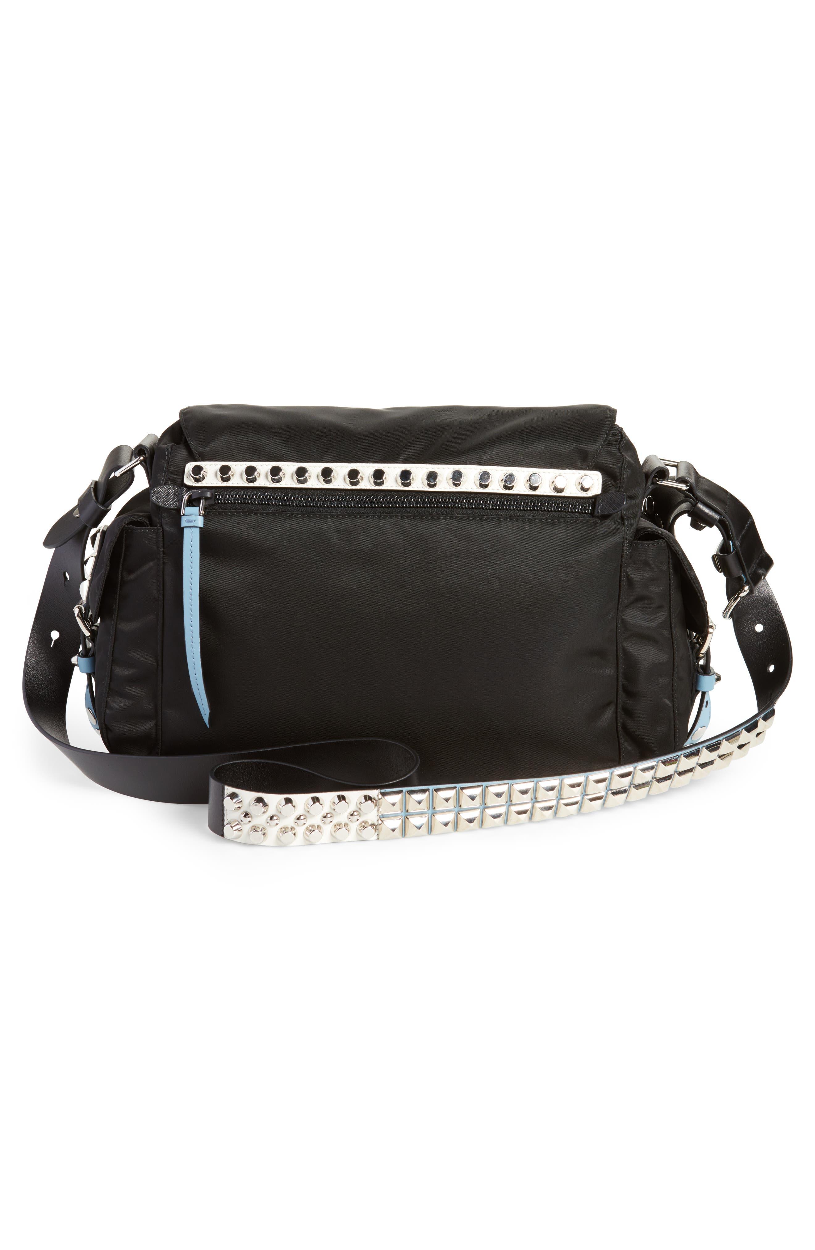 Studded Nylon Messenger Bag,                             Alternate thumbnail 3, color,                             NERO/ ASTRALE