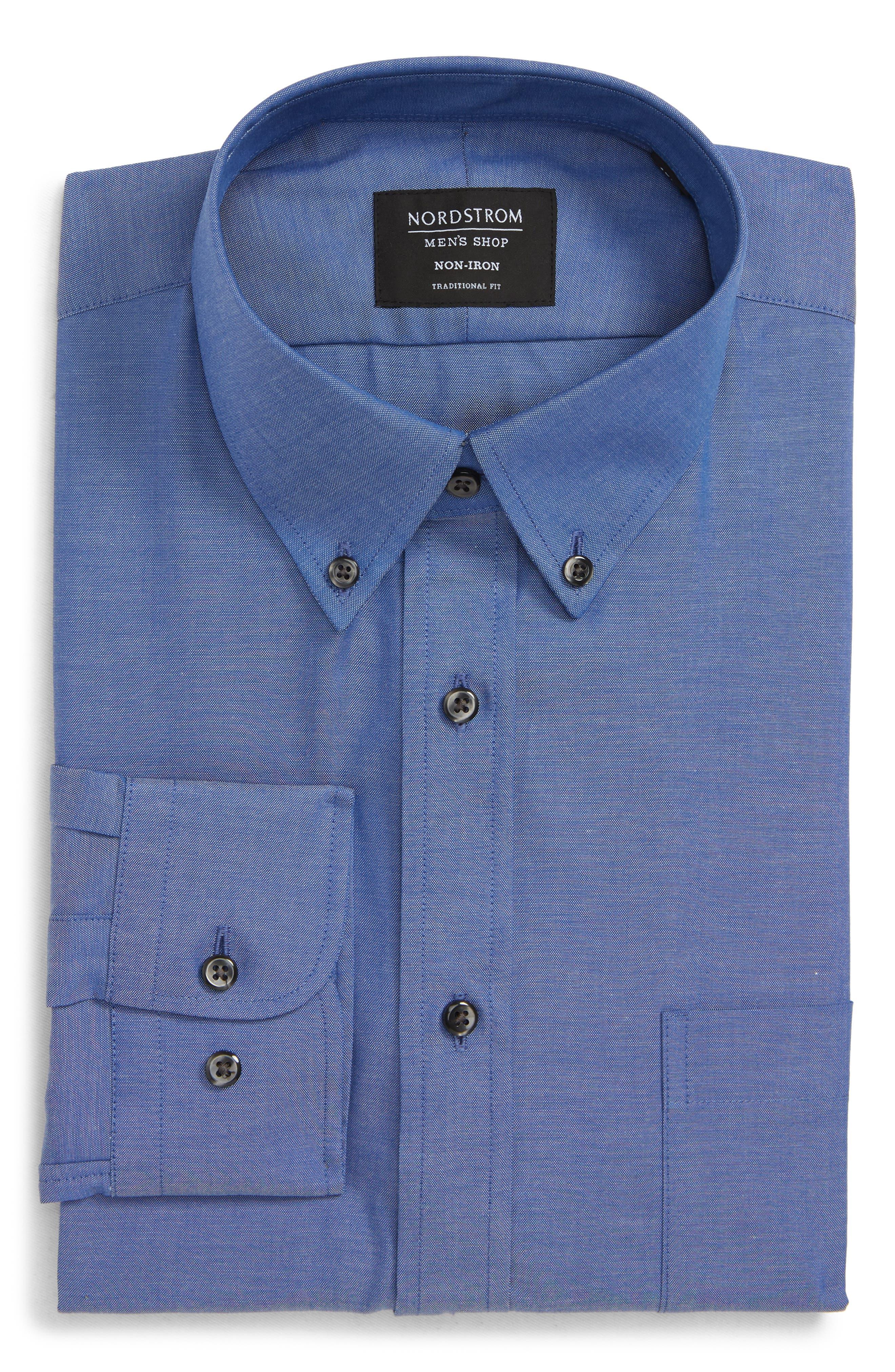 Traditional Fit Non-Iron Dress Shirt,                             Alternate thumbnail 5, color,                             BLUE DENIM