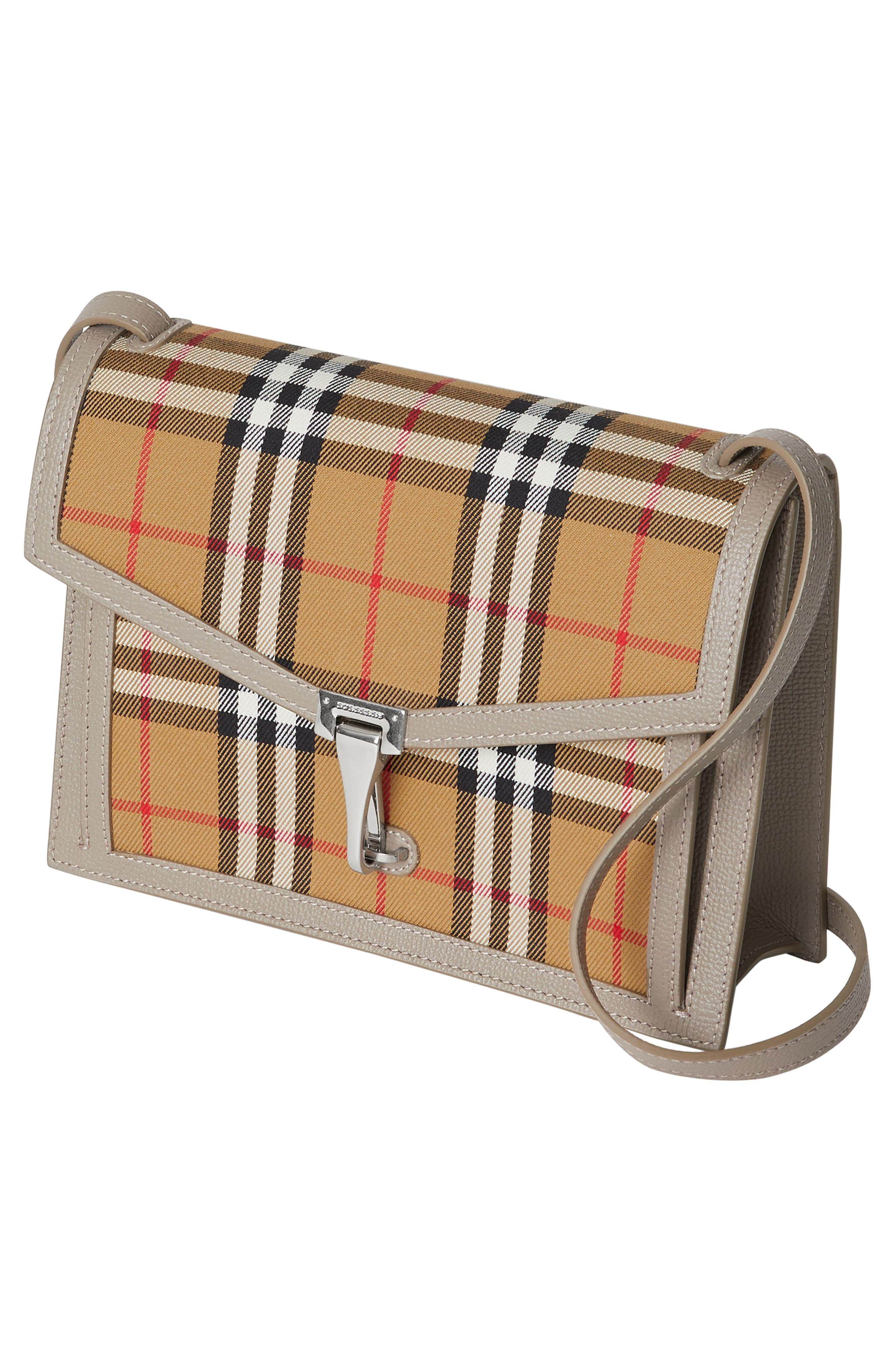 Small Macken Vintage Check Crossbody Bag,                             Alternate thumbnail 5, color,                             TAUPE BROWN
