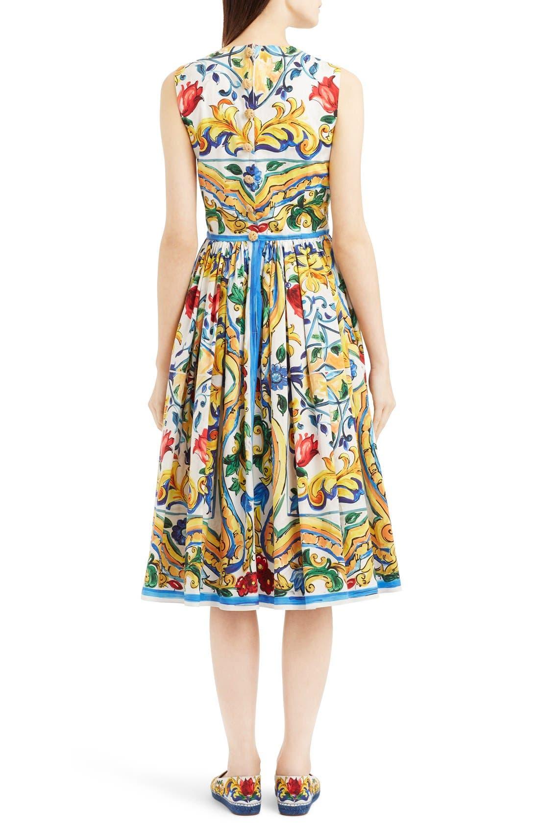 'Majolica' Tile Print Cotton Poplin Dress,                             Alternate thumbnail 4, color,                             700