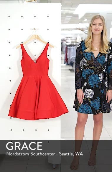 Double V-Neck Fit & Flare Party Dress, sales video thumbnail