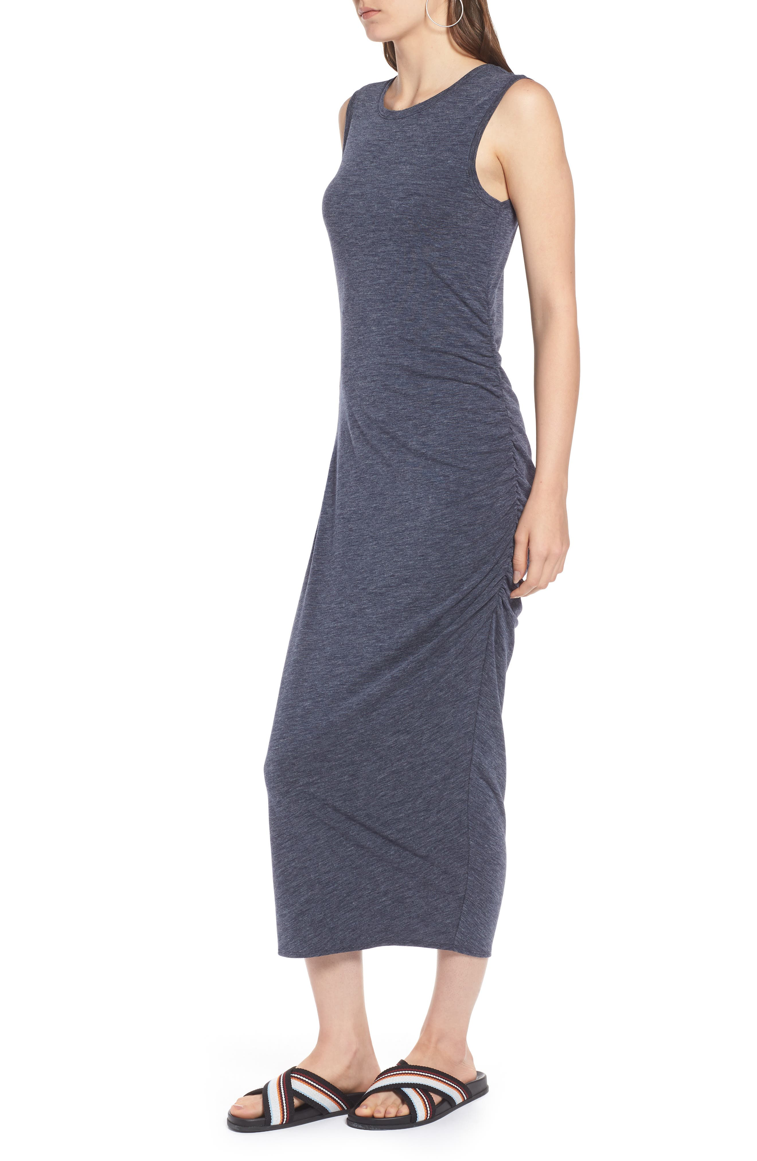 Sleeveless Side Ruched Dress,                             Alternate thumbnail 3, color,                             410