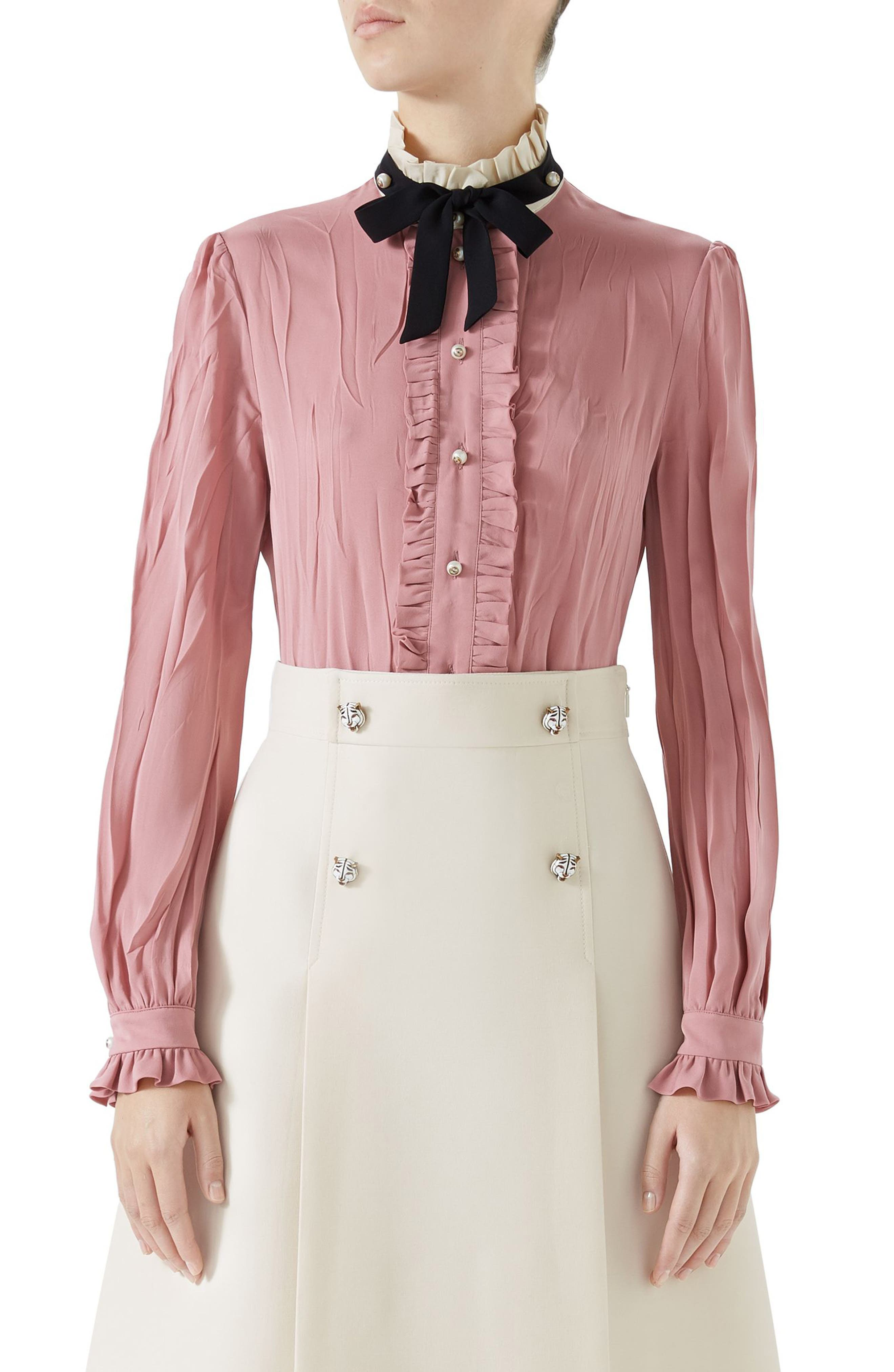 Tie Neck Ruffle Detail Silk Blouse,                         Main,                         color, PINK