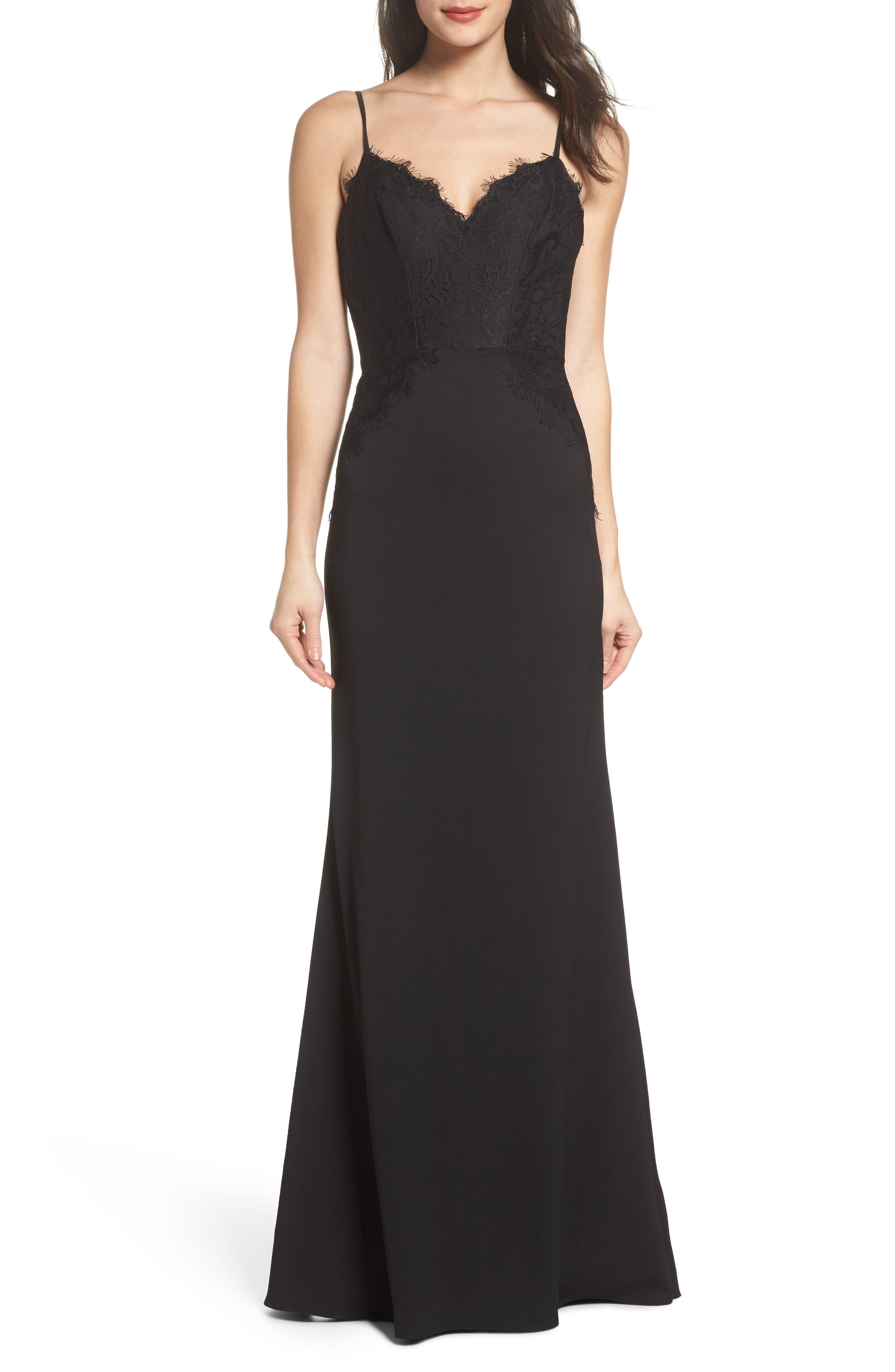 Lace & Crepe Trumpet Gown,                         Main,                         color, BLACK